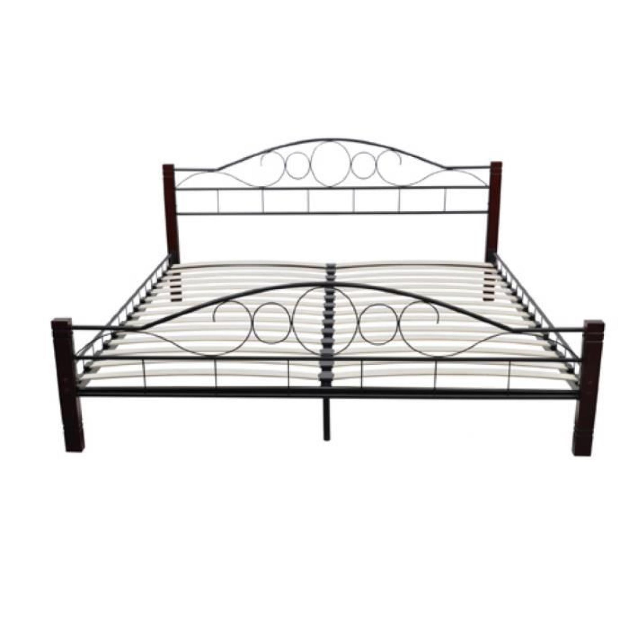lit en m tal et pieds en bois 180 x 200 cm achat vente lit pas cher couleur et. Black Bedroom Furniture Sets. Home Design Ideas