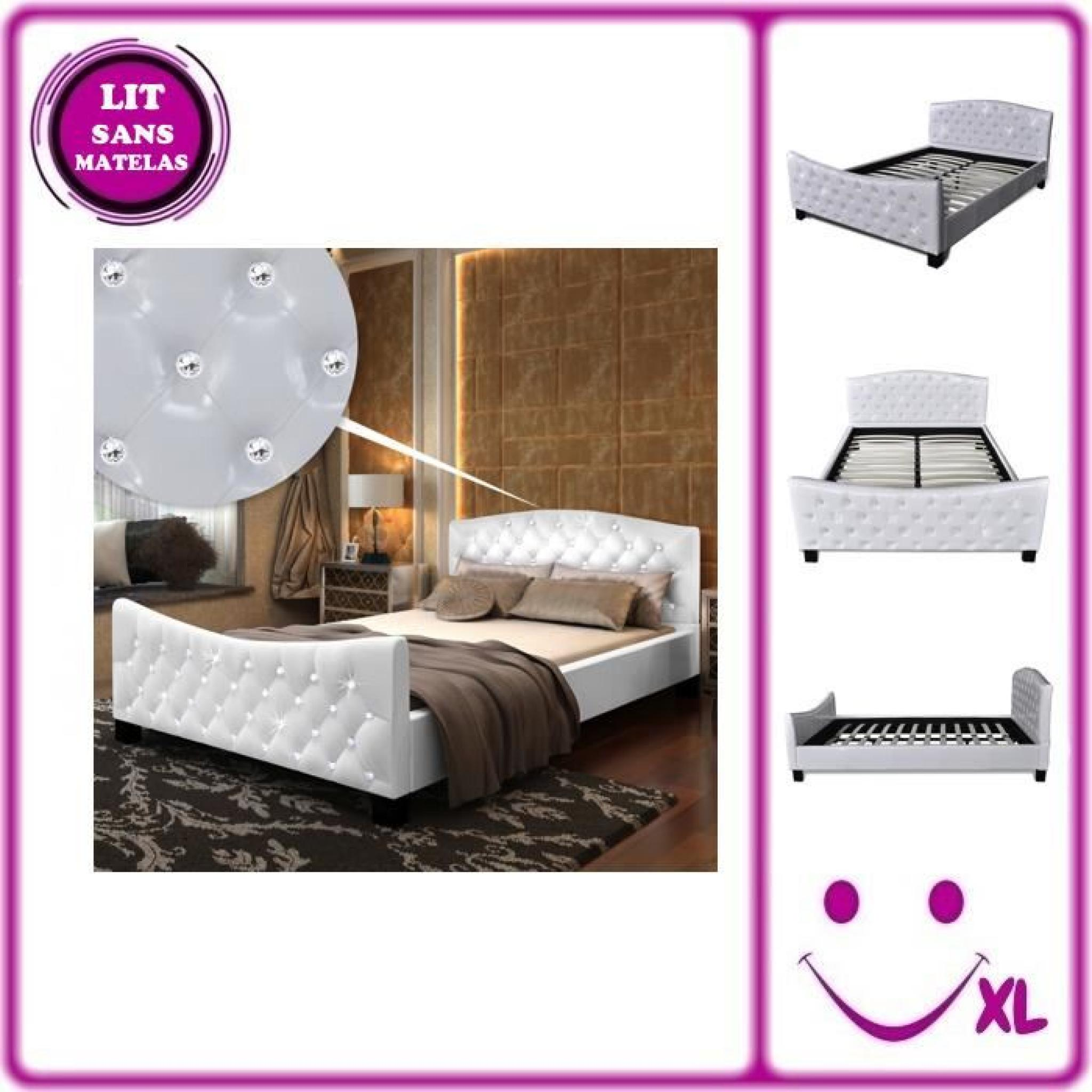 lit en simili cuir avec boutons en cristal acrylique 140x200cm blanc achat vente lit pas cher. Black Bedroom Furniture Sets. Home Design Ideas
