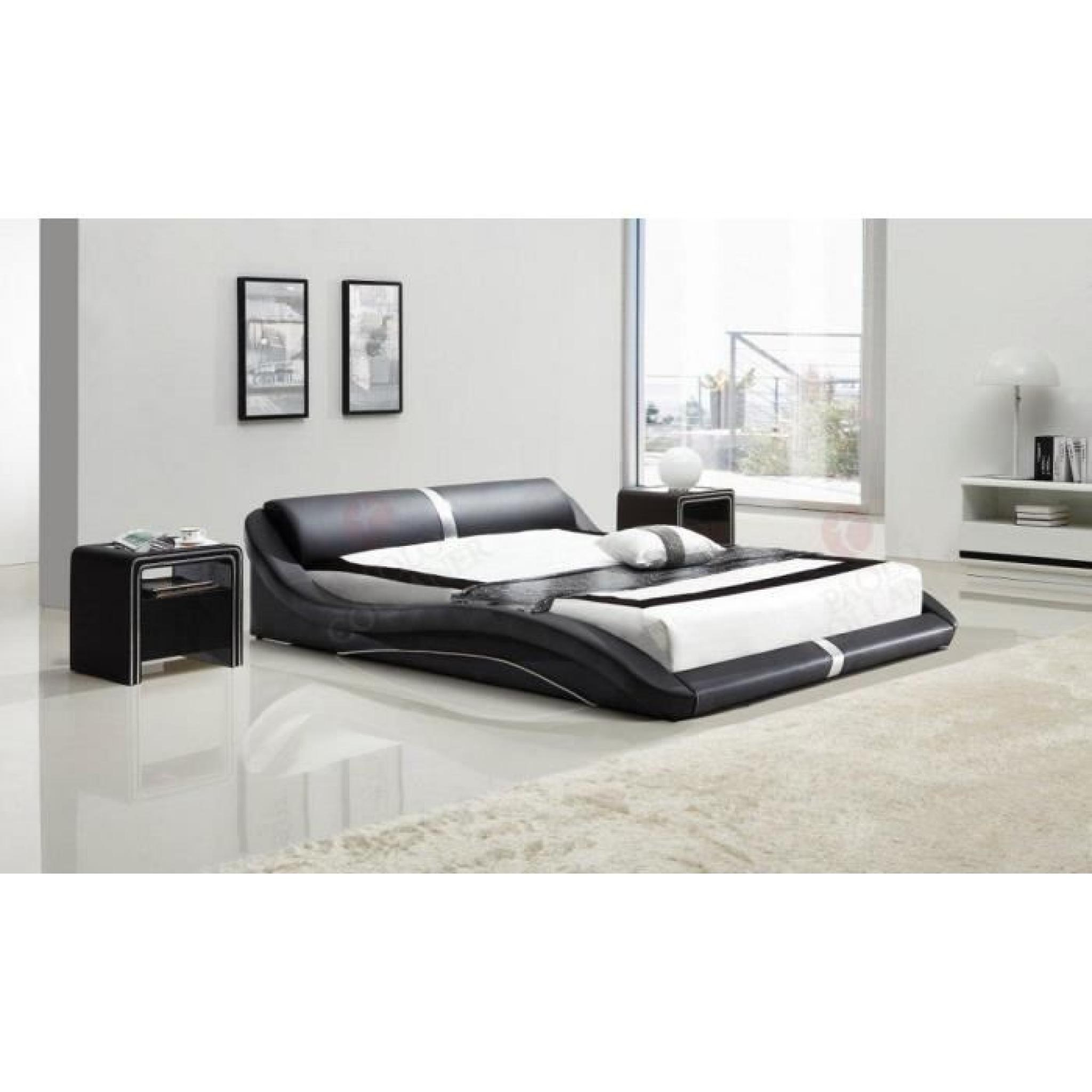 lit en similicuir noir 160x200 cm pl0b 58 achat vente. Black Bedroom Furniture Sets. Home Design Ideas