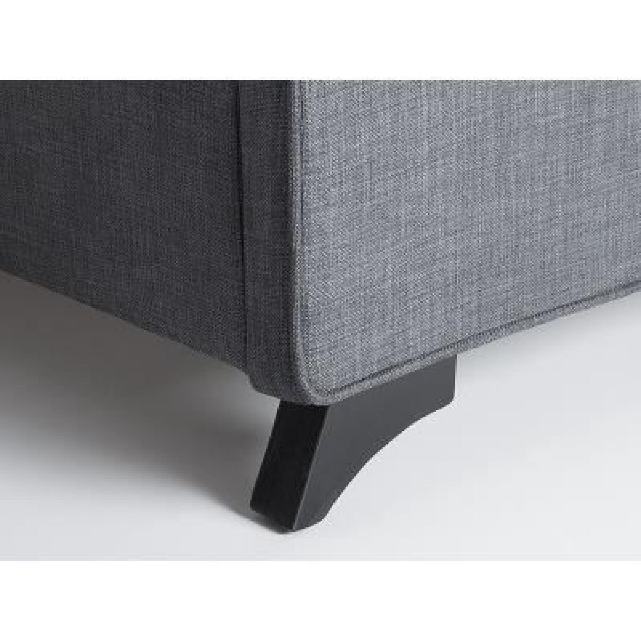 lit en tissu lit double 160x200 cm gris sommier inclus ambassador achat vente lit pas. Black Bedroom Furniture Sets. Home Design Ideas