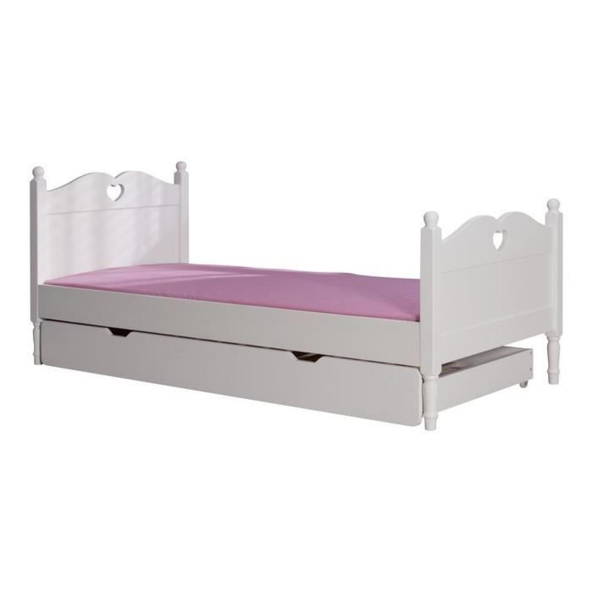 lit enfant avec tiroir lit 90x200 coloris blanc achat. Black Bedroom Furniture Sets. Home Design Ideas