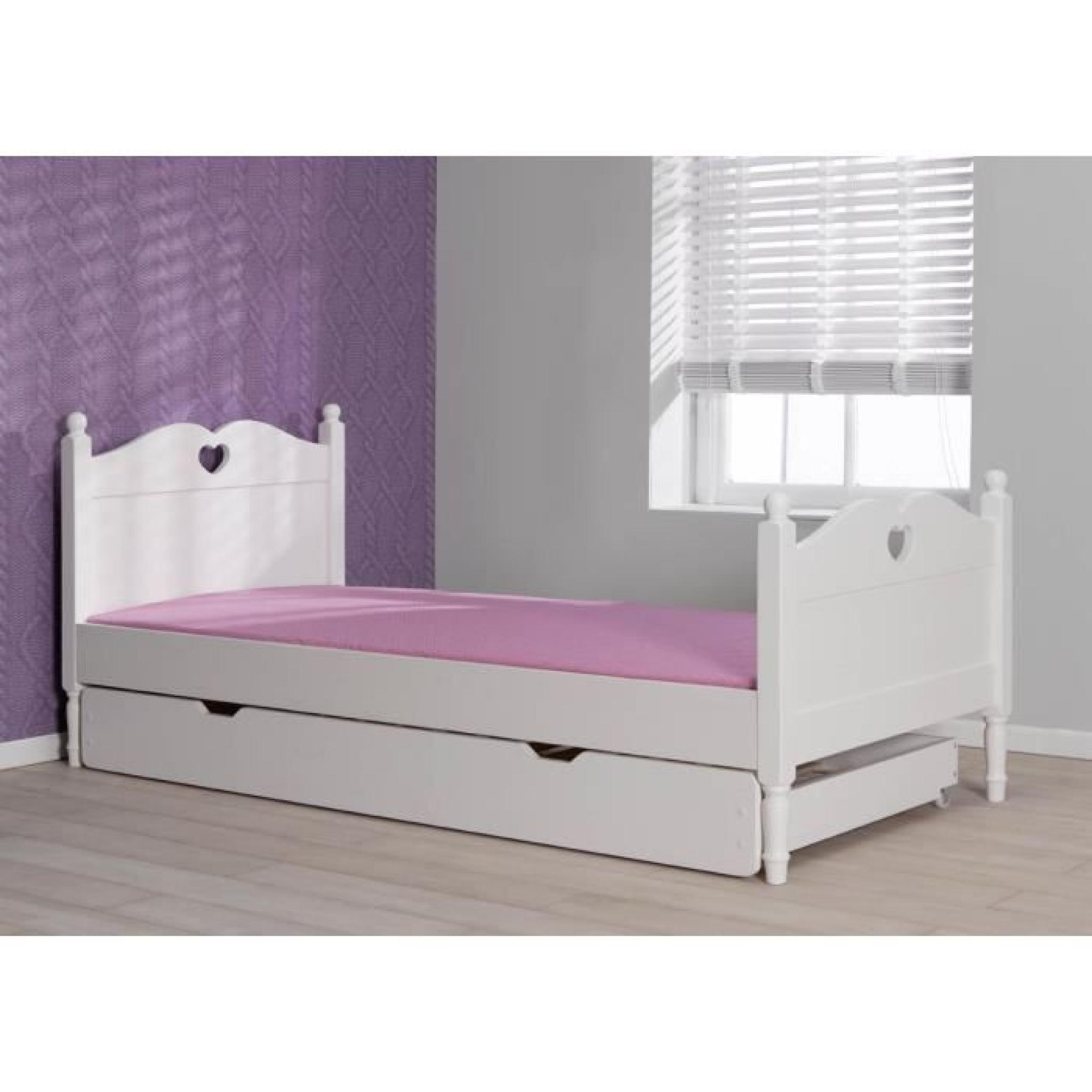 lit enfant avec tiroirlit 90x200 coloris blanc  achat