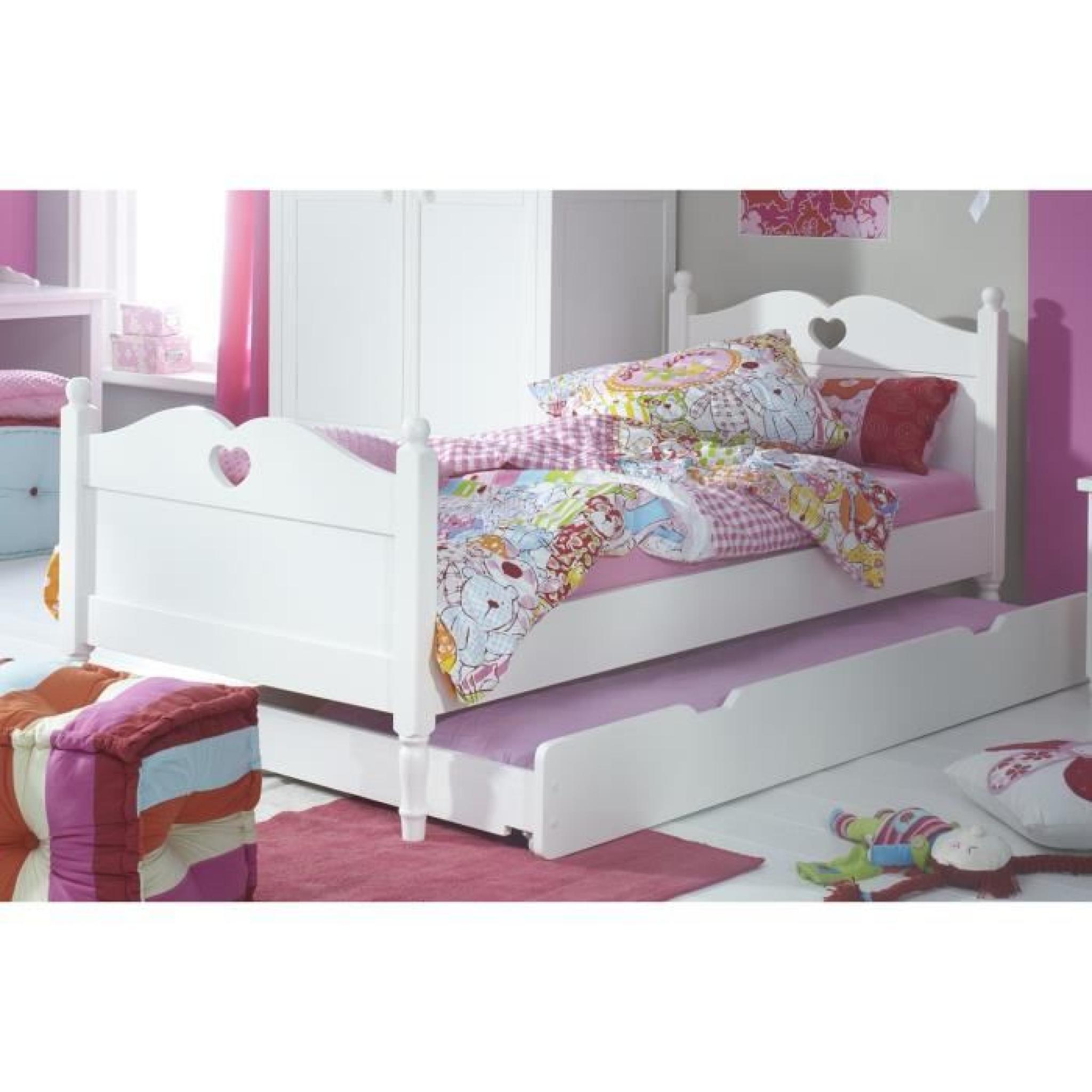 lit enfant avec tiroir lit 90x200 coloris blanc achat vente lit pas cher couleur et. Black Bedroom Furniture Sets. Home Design Ideas