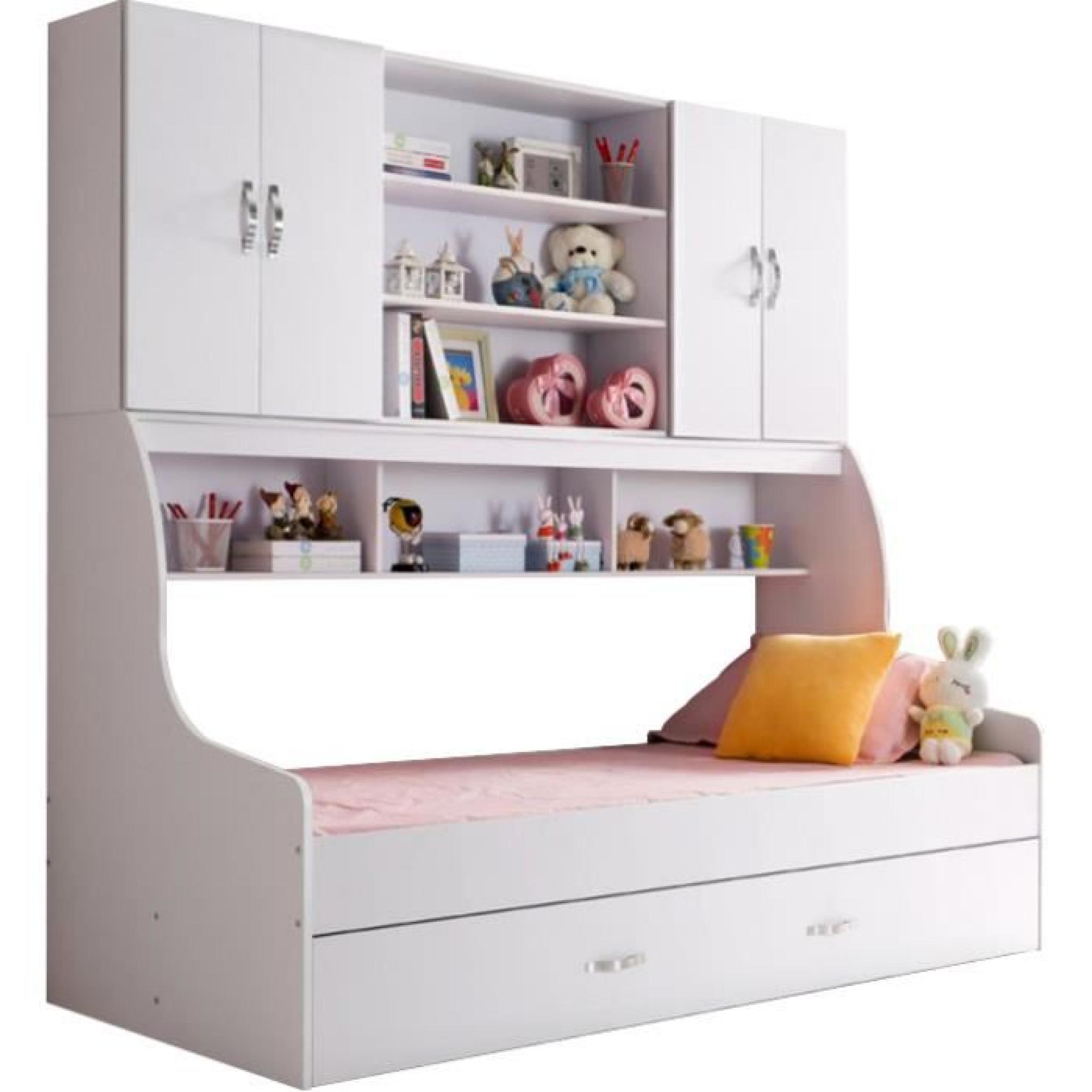 lit enfant blanc 90x200 avec tiroir et rangement mural. Black Bedroom Furniture Sets. Home Design Ideas
