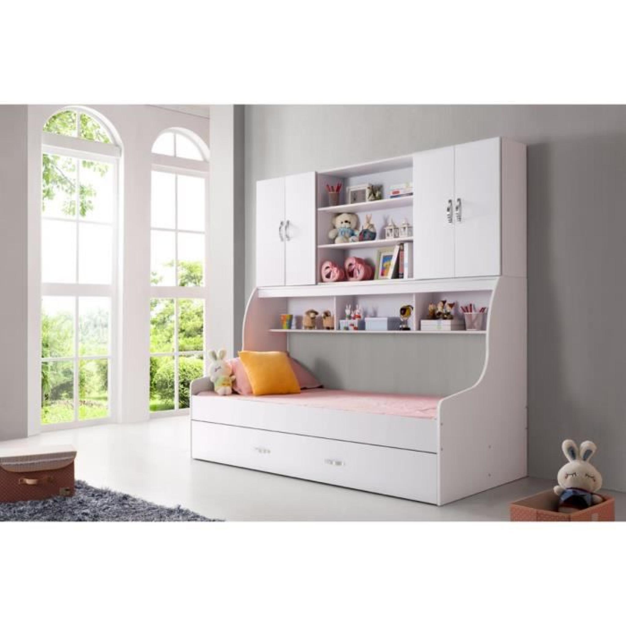 lit enfant blanc 90x200 avec tiroir et rangement mural achat vente lit enfant pas cher. Black Bedroom Furniture Sets. Home Design Ideas