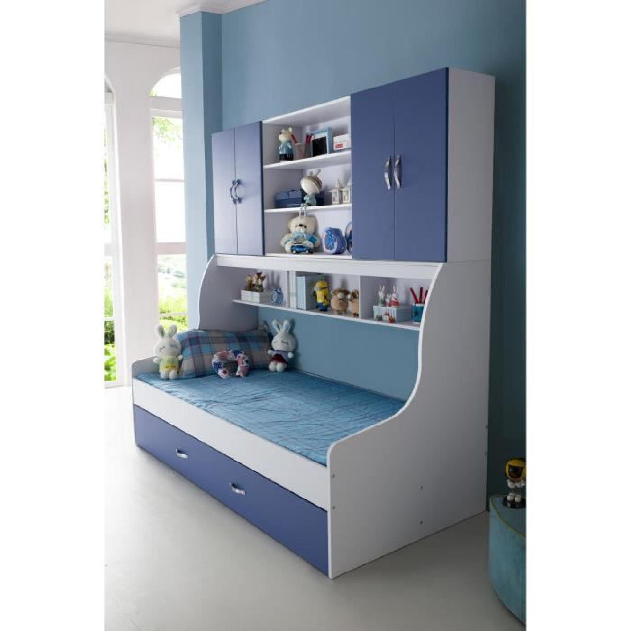 lit enfant bleu 90x200 avec tiroir et rangement mural. Black Bedroom Furniture Sets. Home Design Ideas