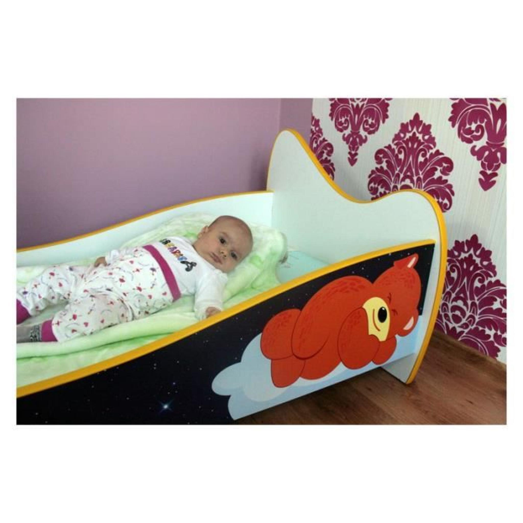 lit enfant et b b 140x70 avec matelas ours en peluche achat vente lit enfant pas cher. Black Bedroom Furniture Sets. Home Design Ideas