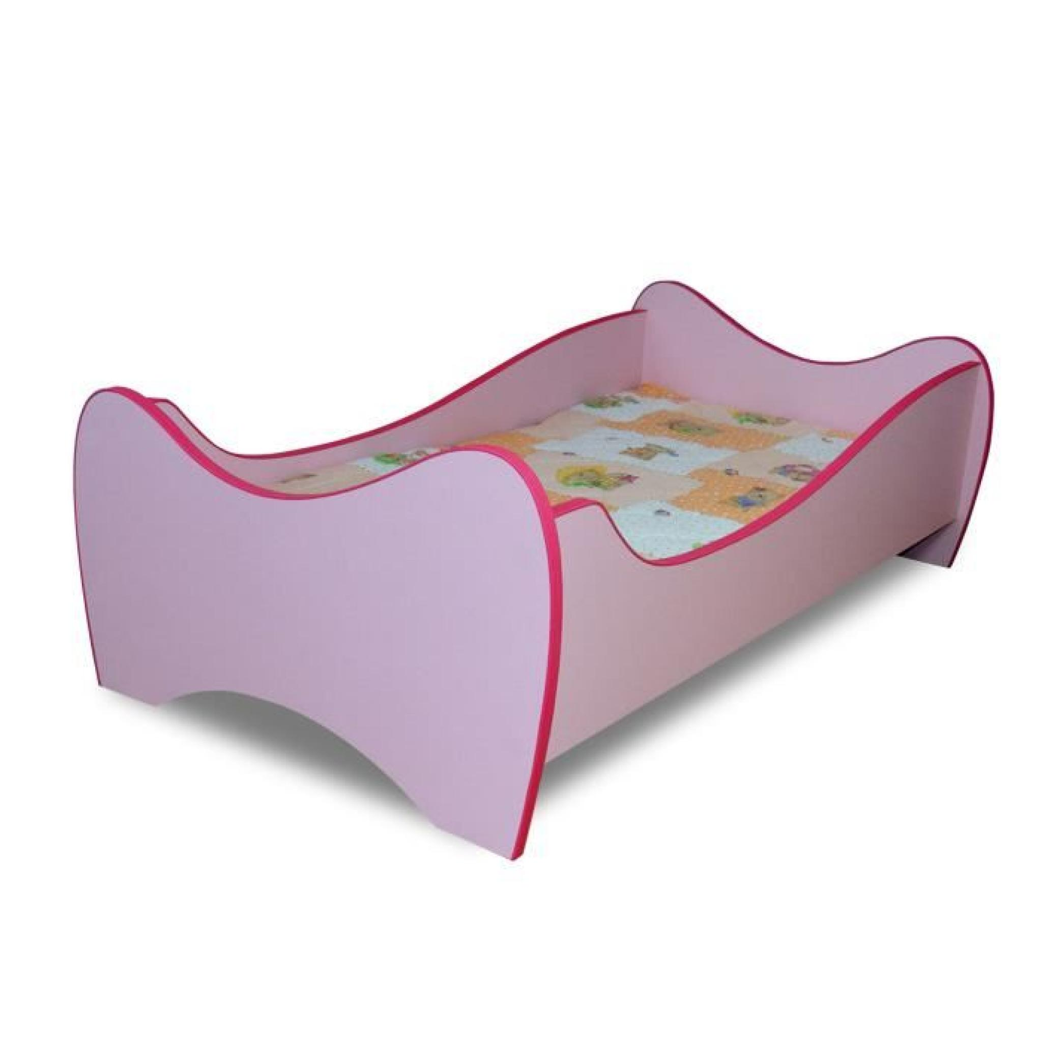 lit enfant rose sommier matelas 140x70 cm achat vente. Black Bedroom Furniture Sets. Home Design Ideas