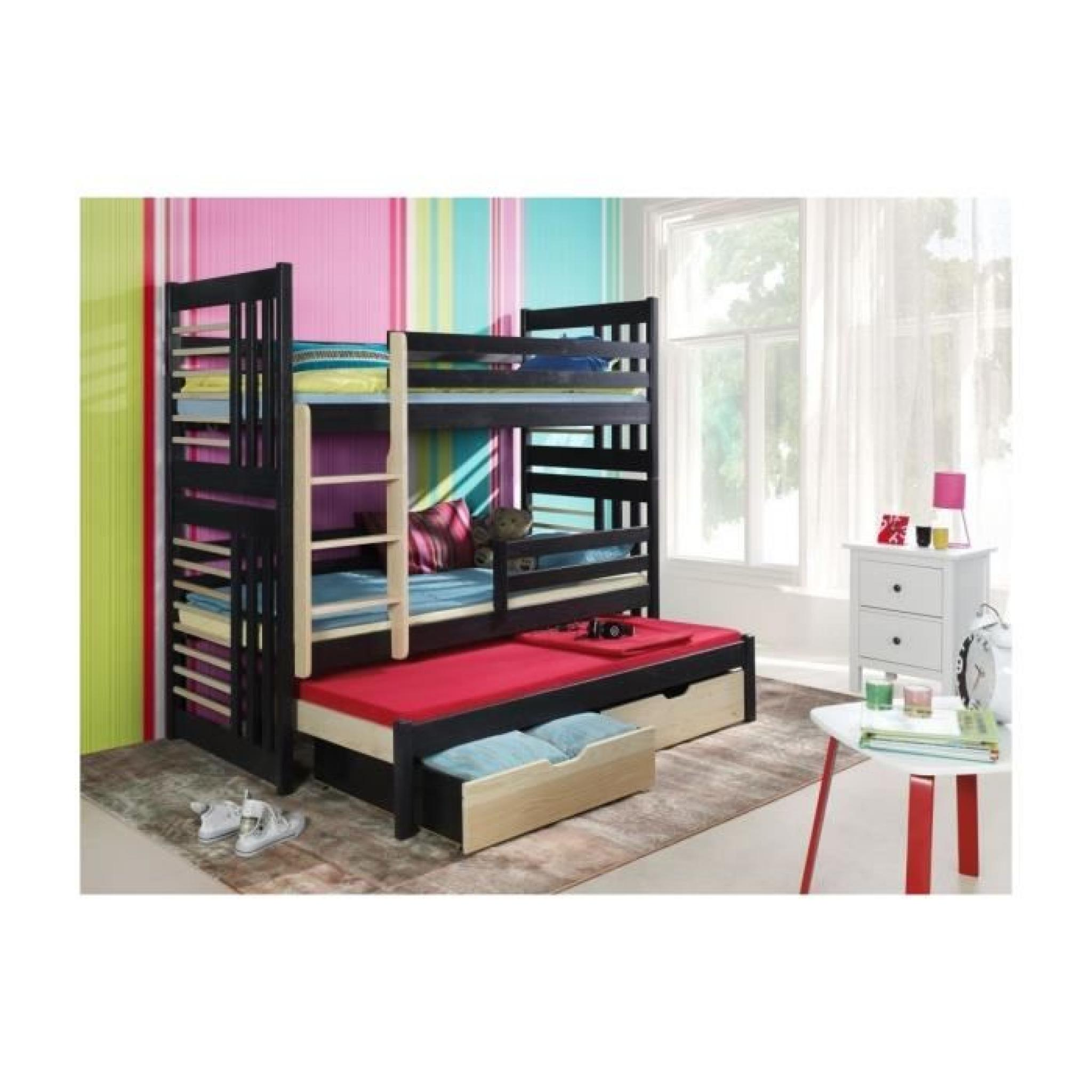 lit enfant superpos roland iii avec lit gigogne 3 couchages couleur marketing gris. Black Bedroom Furniture Sets. Home Design Ideas