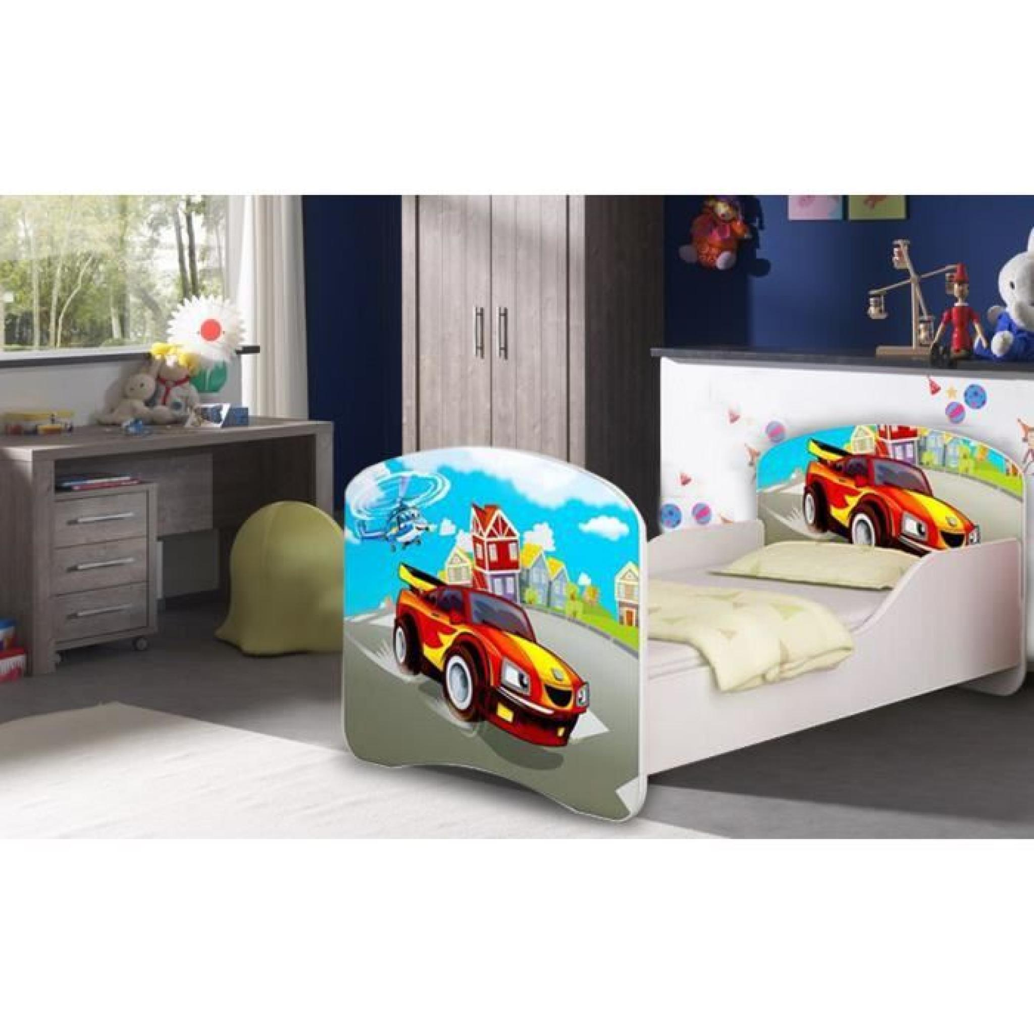 lit enfant voiture de rallye rouge sommier matelas. Black Bedroom Furniture Sets. Home Design Ideas