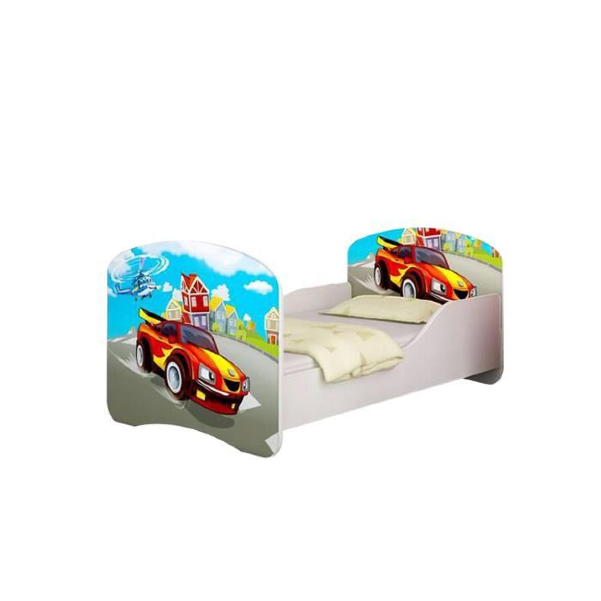 lit enfant voiture de rallye rouge sommier matelas 140x70 cm achat vente lit enfant pas. Black Bedroom Furniture Sets. Home Design Ideas