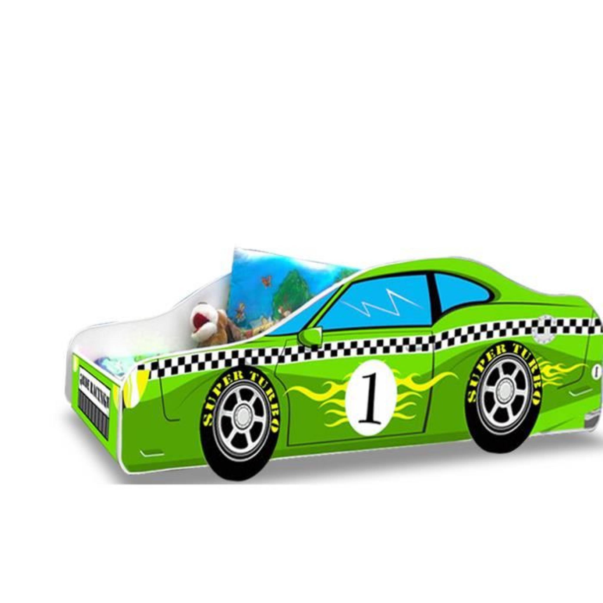 lit enfant voiture f1 verte sommier matelas 160 x 80 cm achat vente lit enfant pas cher. Black Bedroom Furniture Sets. Home Design Ideas