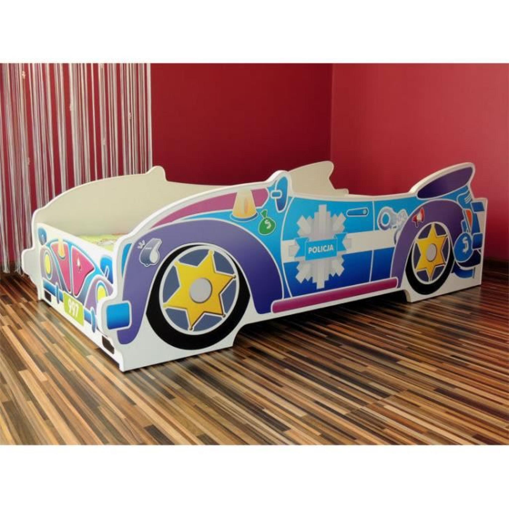 Lit enfant voiture police sommier matelas 140x70 achat for Baignoire 140x70 pas cher