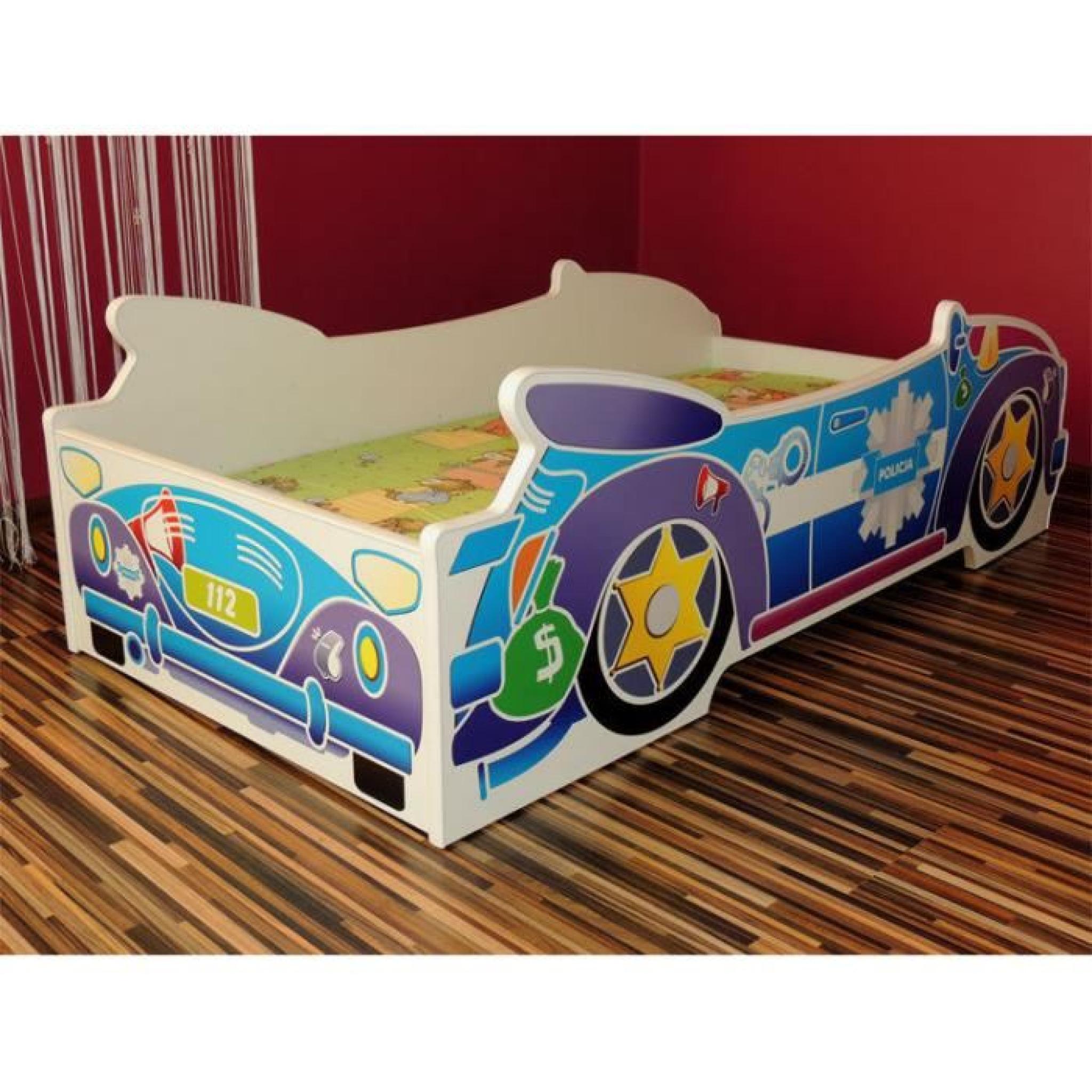 lit enfant voiture police sommier matelas 140x70 achat vente lit pas cher couleur et. Black Bedroom Furniture Sets. Home Design Ideas
