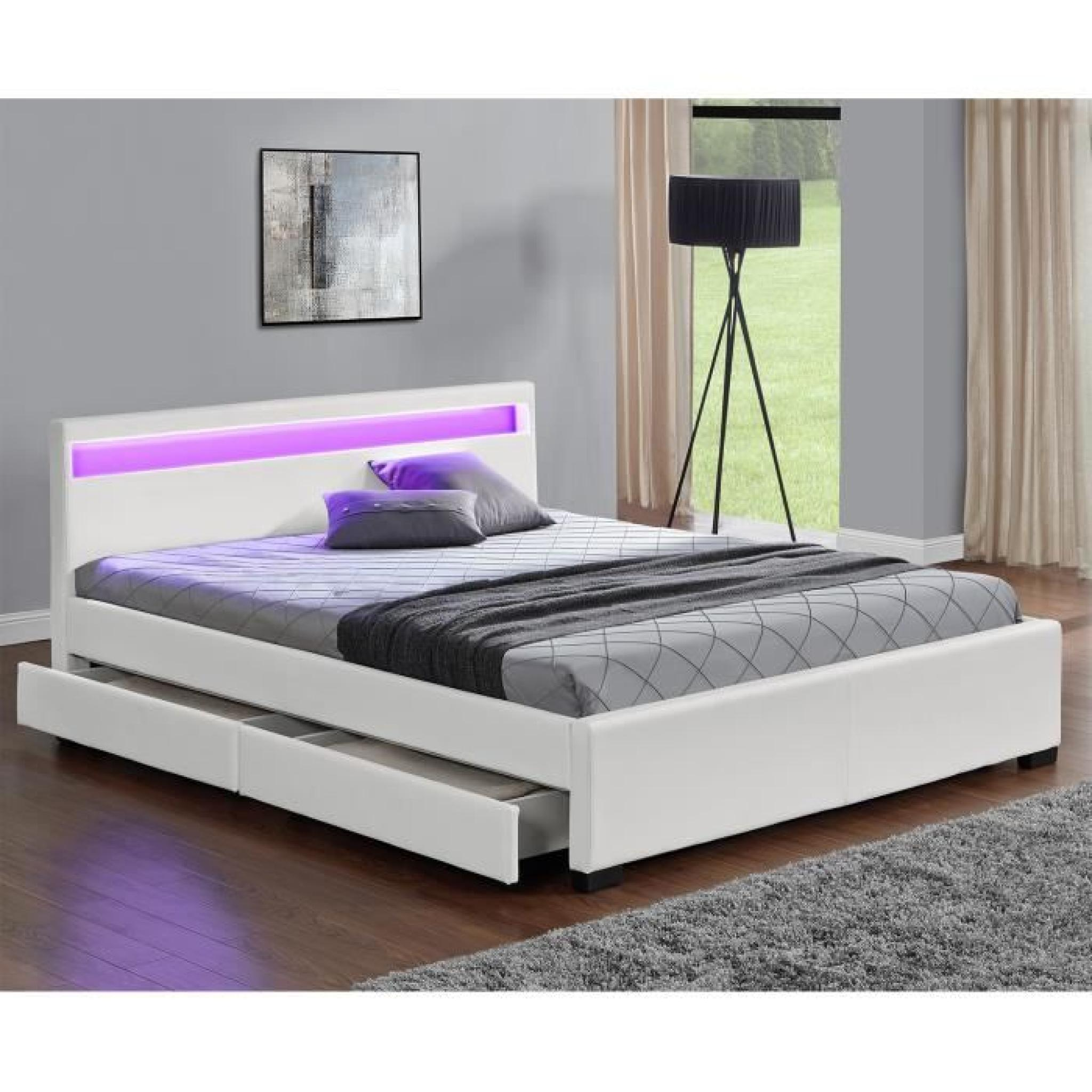 lit enfield blanc led et rangement tiroirs 160x200 cm achat vente lit pas cher couleur. Black Bedroom Furniture Sets. Home Design Ideas
