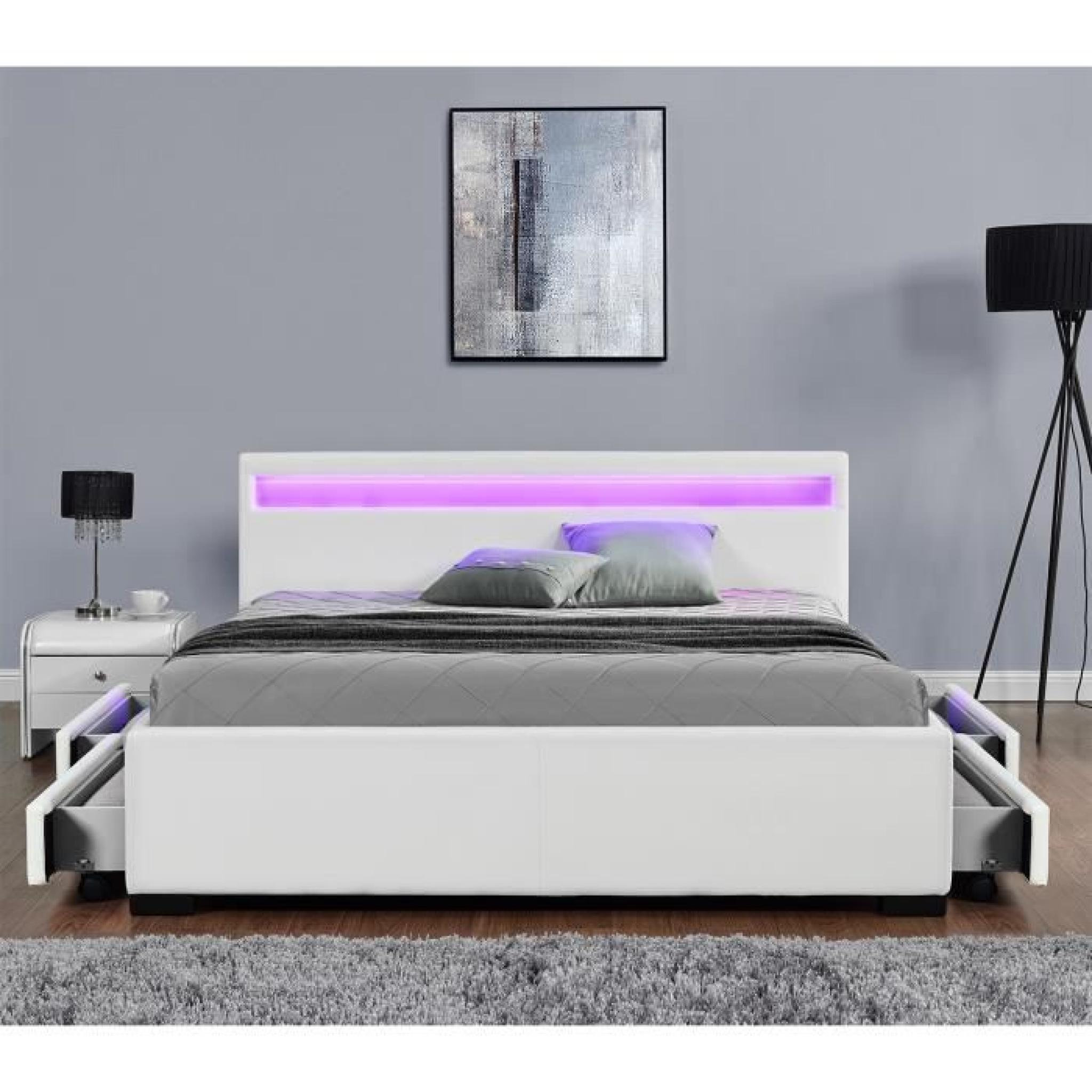 lit enfield blanc led et rangements tiroirs 140x190 cm achat vente lit pas cher couleur. Black Bedroom Furniture Sets. Home Design Ideas