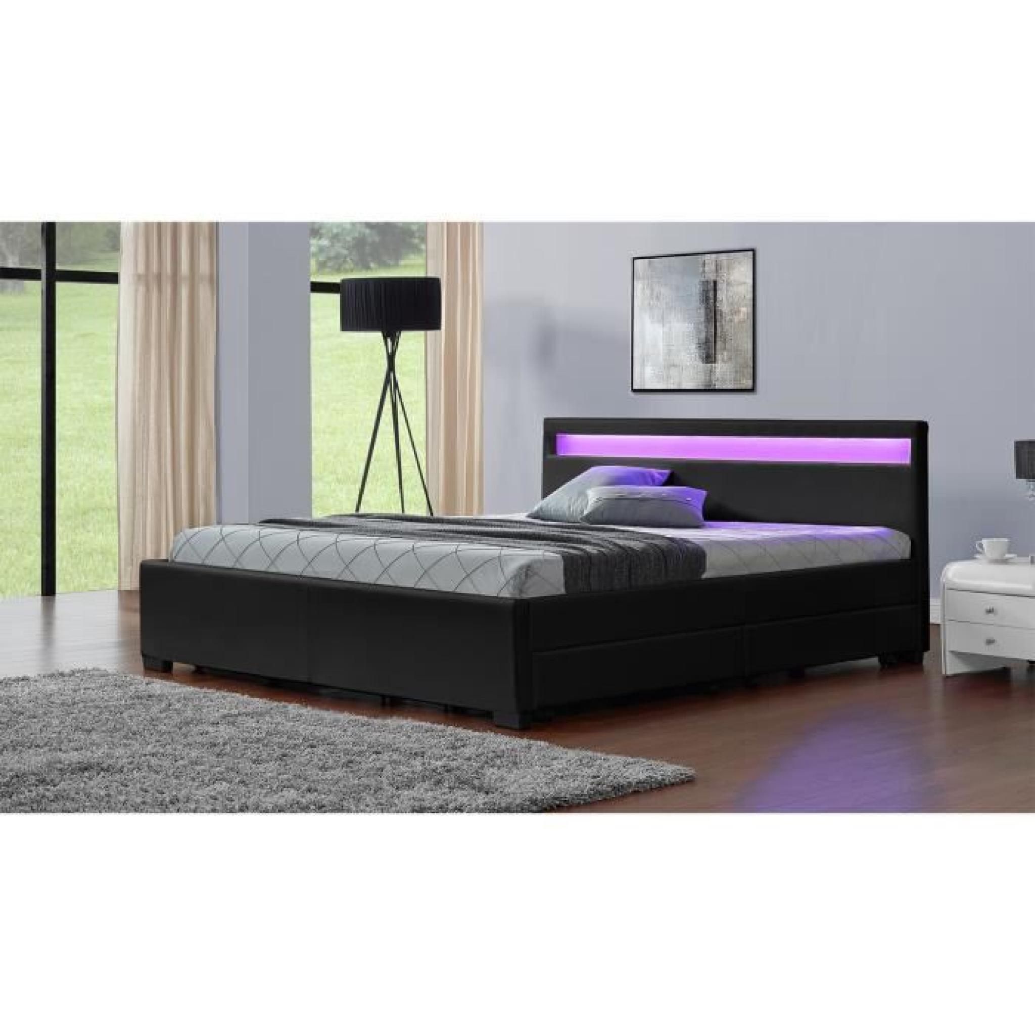 lit enfield noir led et rangements tiroirs 160x200 cm achat vente lit pas cher couleur. Black Bedroom Furniture Sets. Home Design Ideas