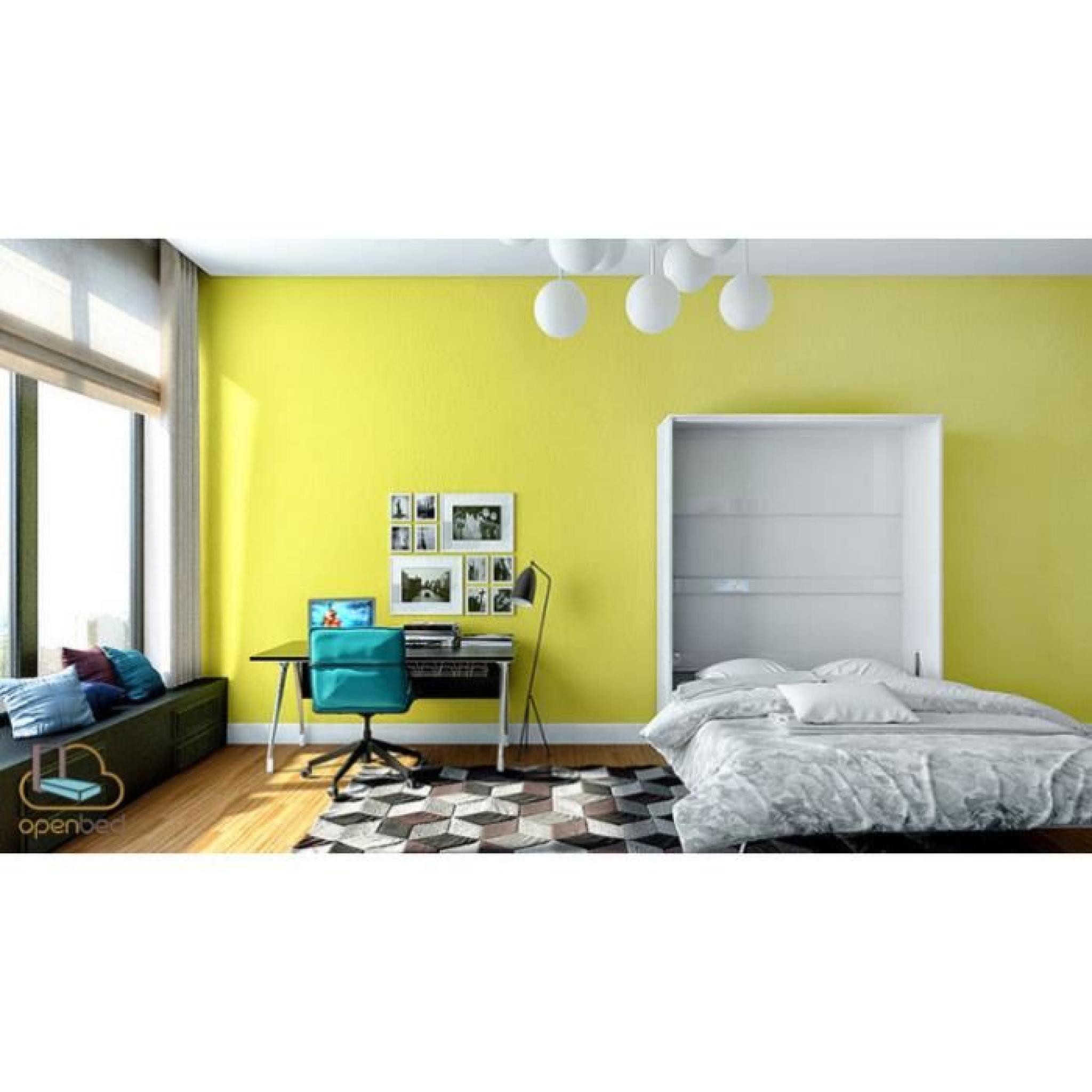 lit escamotable bora vertical 140x200 finition bla achat vente lit escamotable pas cher. Black Bedroom Furniture Sets. Home Design Ideas