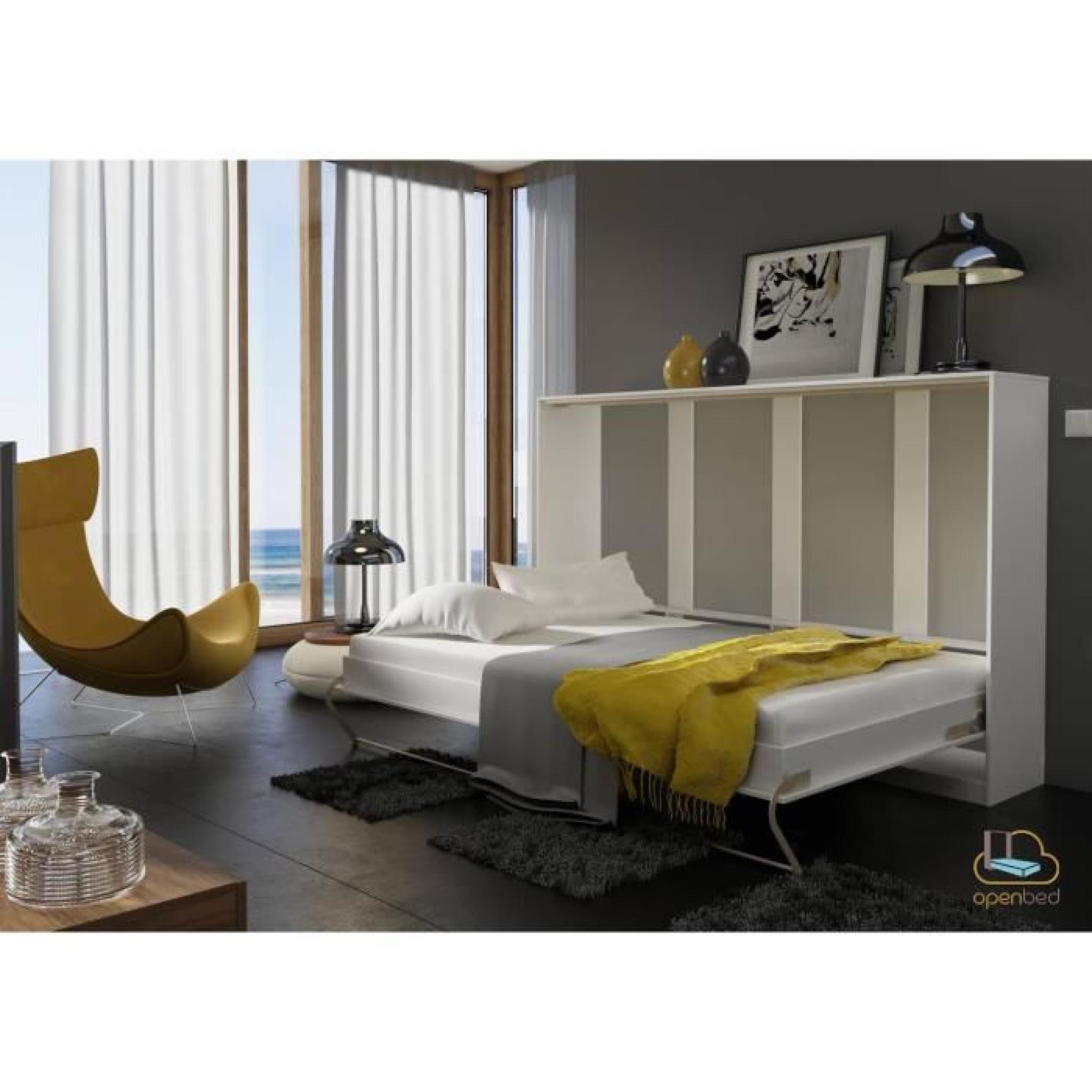 lit escamotable horizontal bora blanc achat vente lit escamotable pas cher couleur et. Black Bedroom Furniture Sets. Home Design Ideas