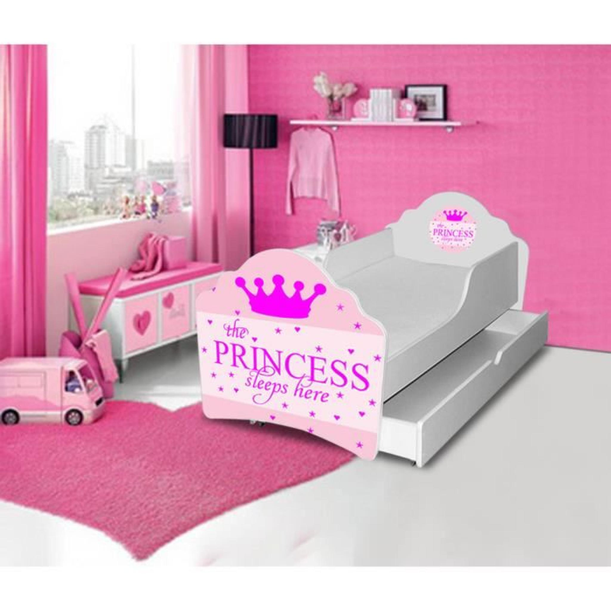 lit gigogne enfant sleeping princesse sommier matelas 160x80cm achat vente lit enfant pas cher. Black Bedroom Furniture Sets. Home Design Ideas