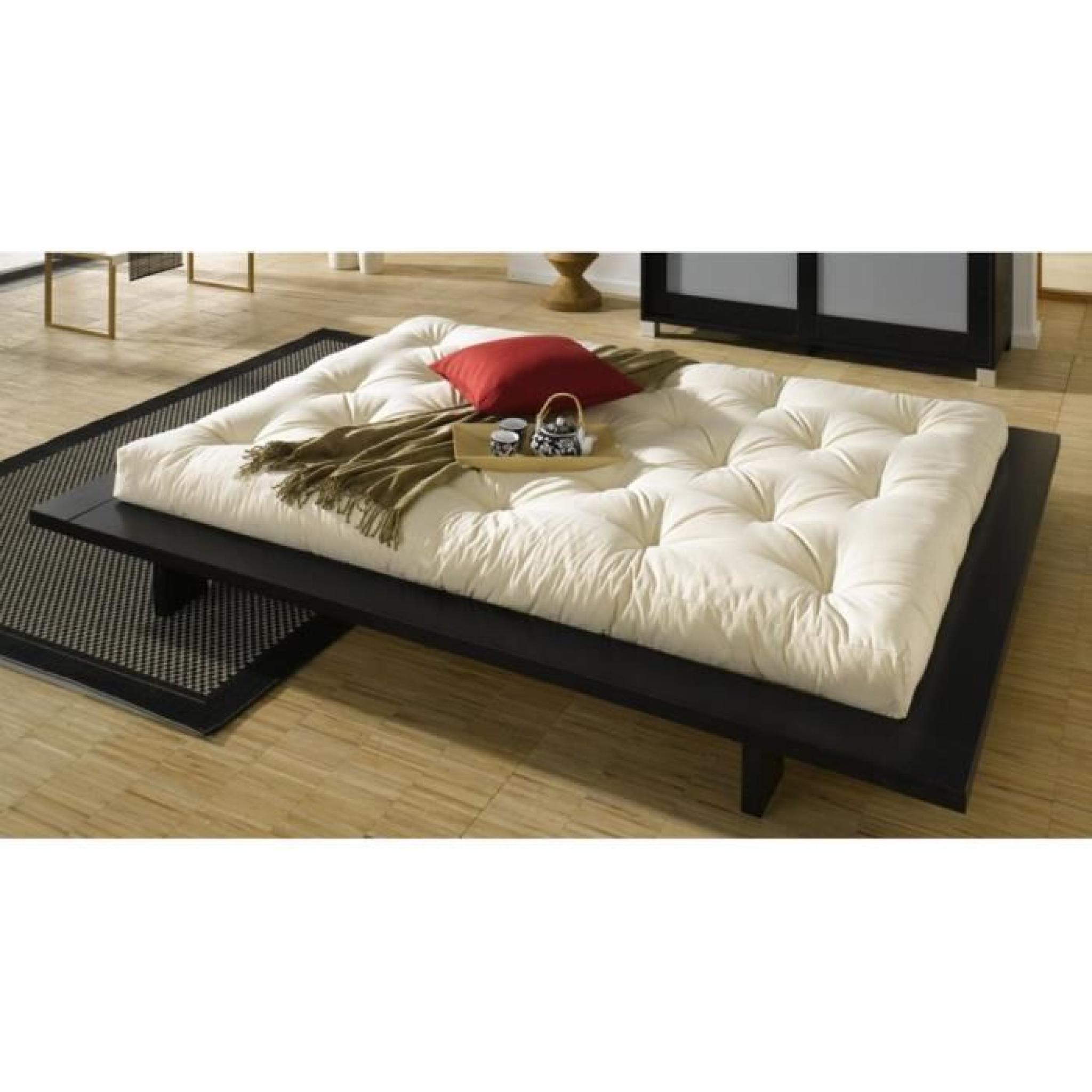 lit japonais japan noir couchage 140 200cm achat vente. Black Bedroom Furniture Sets. Home Design Ideas