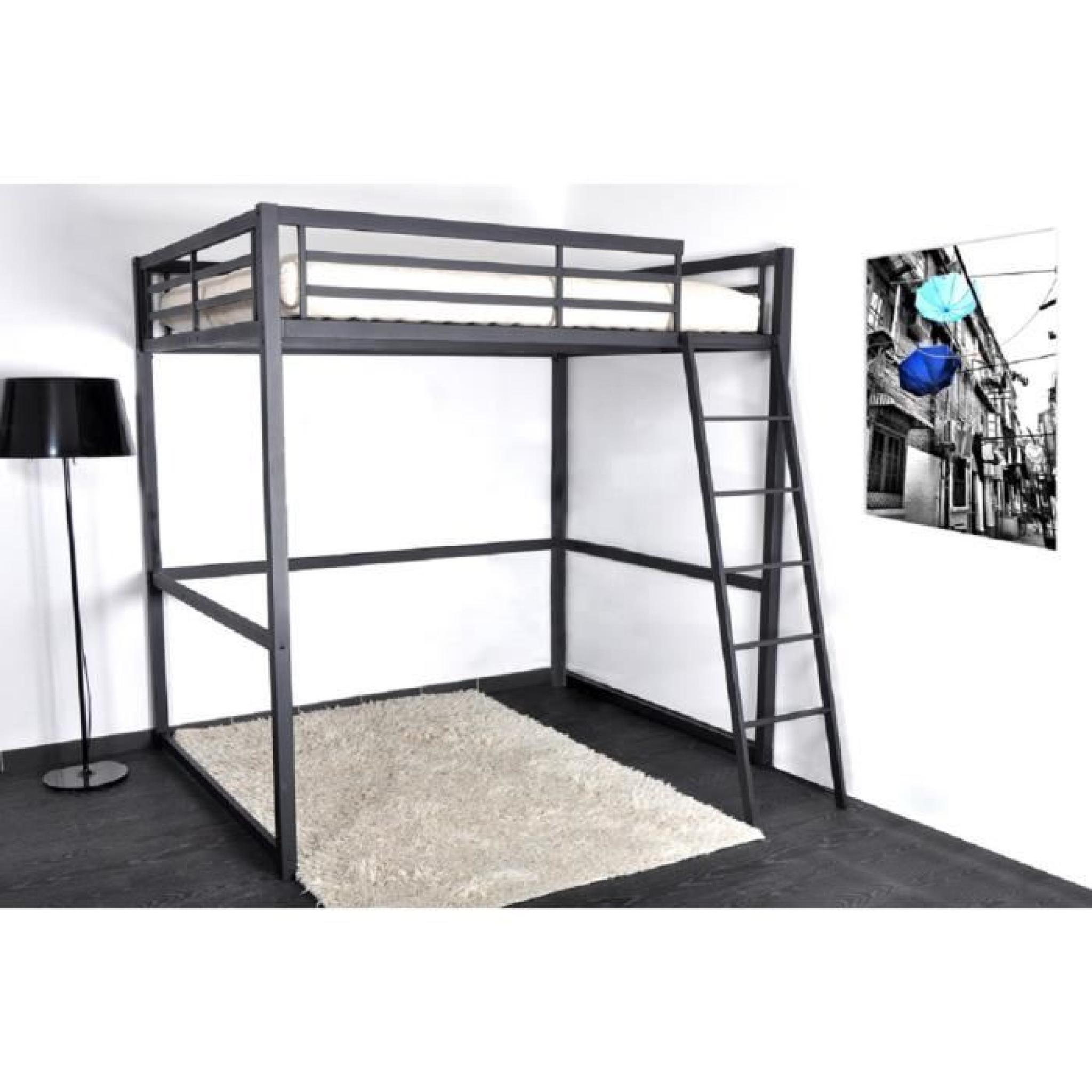 progress lit mezzanine 140x190 cm sommier noir mat achat vente lit mezzanine pas cher. Black Bedroom Furniture Sets. Home Design Ideas