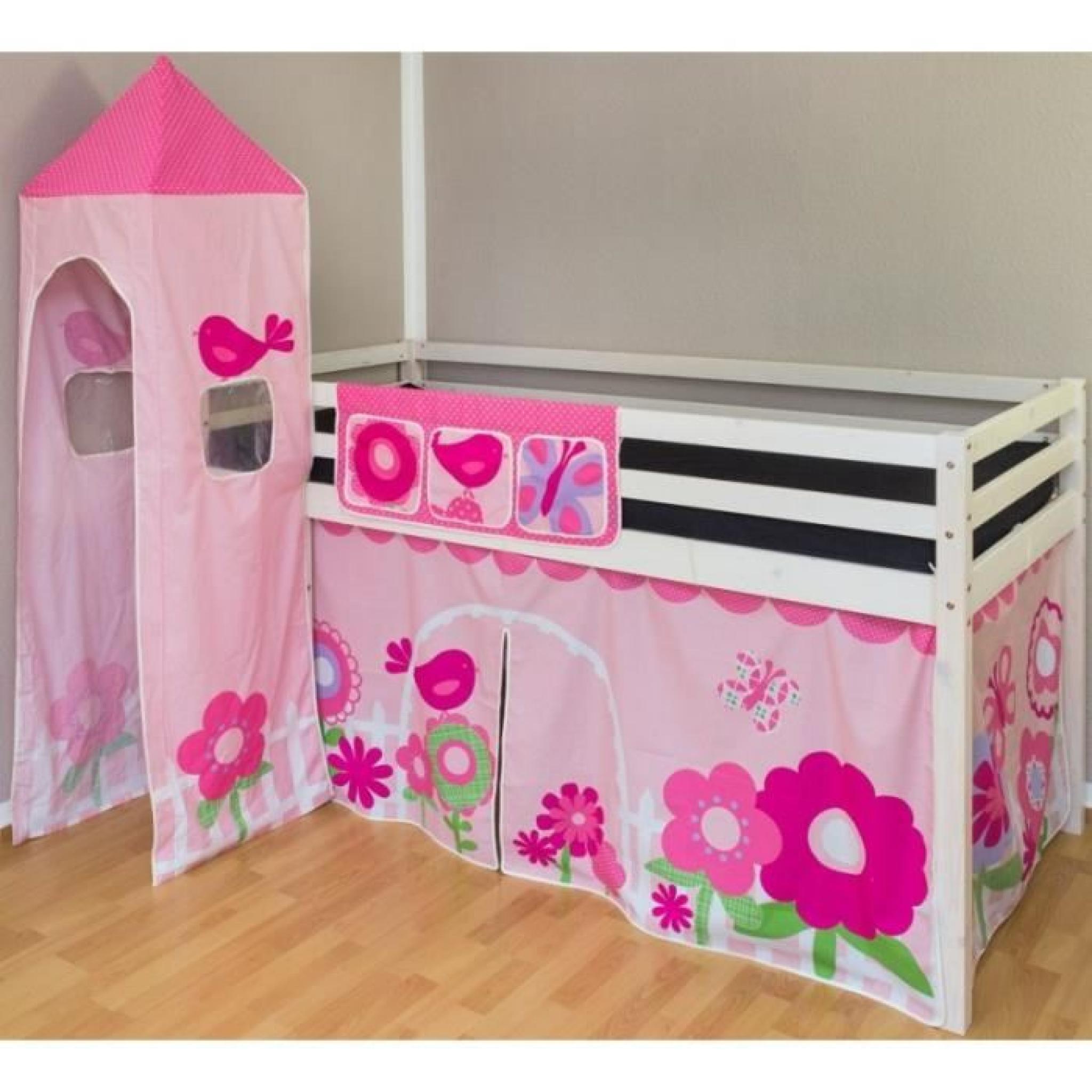 lit mezzanine 90x200cm avec chelle en bois laqu blanc. Black Bedroom Furniture Sets. Home Design Ideas