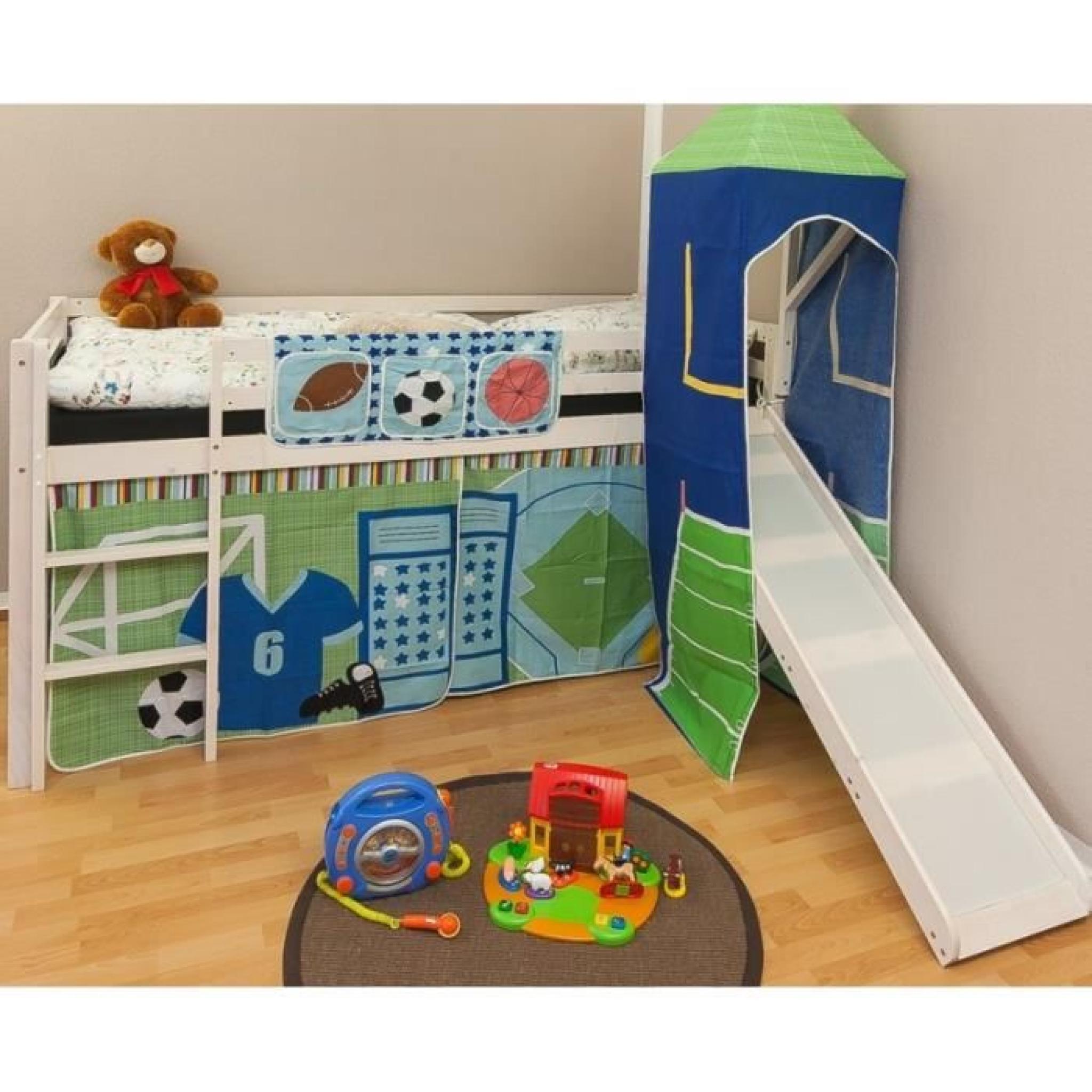 lit mezzanine 90x200cm avec chelle toboggan en bois laqu. Black Bedroom Furniture Sets. Home Design Ideas
