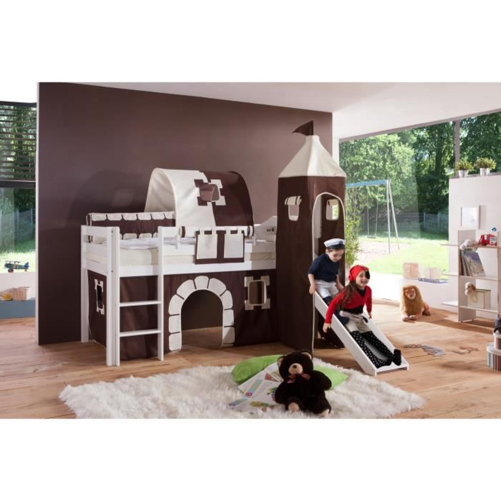 Lit Mezzanine Avec Toboggan Coloris Noir Et Blanc Achatvente Lit