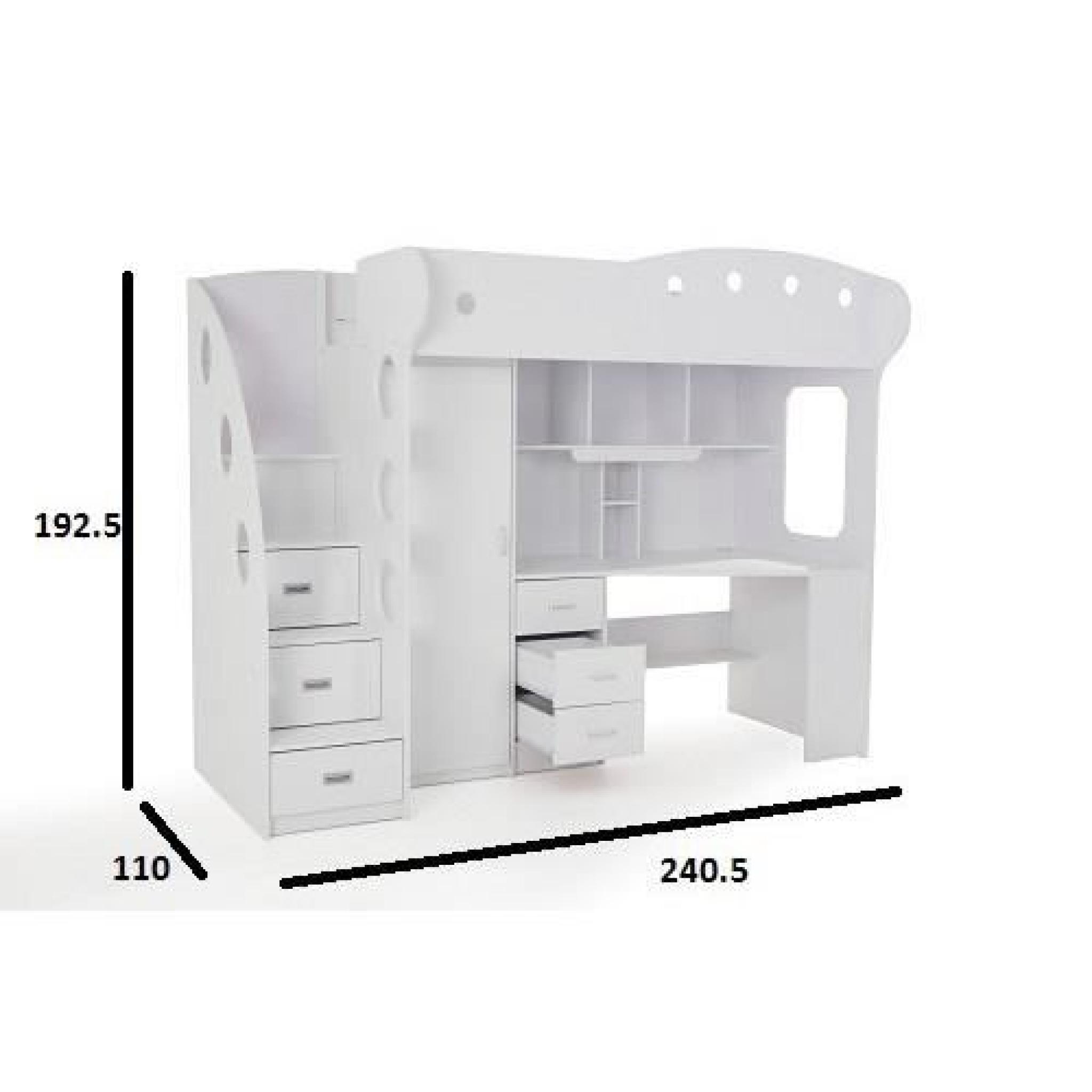 lit mezzanine combi combin bureau penderie blanche et grise achat vente lit mezzanine pas. Black Bedroom Furniture Sets. Home Design Ideas