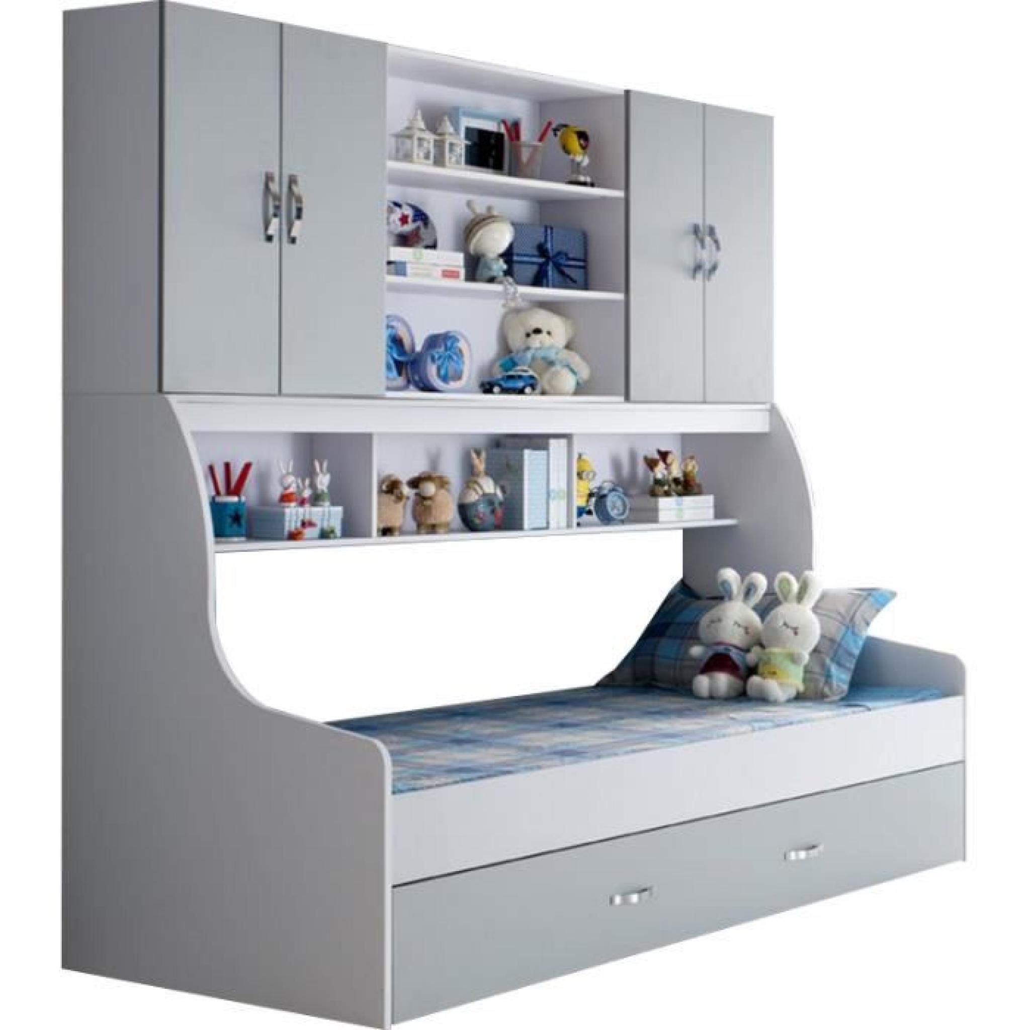 Lit pour enfant 90x200 gris avec tiroir et rangement mural - Achat/Vente lit enfant pas cher ...