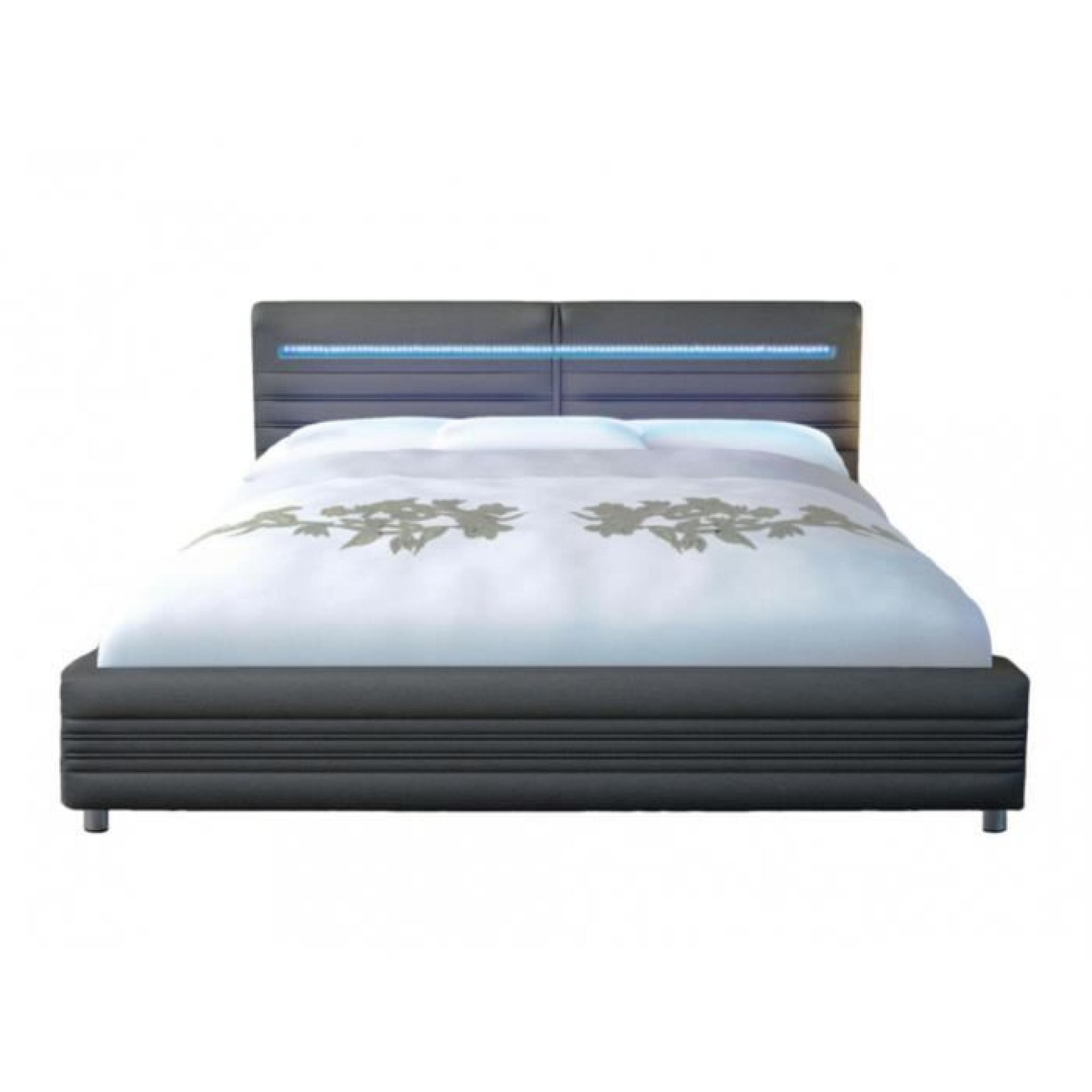 lit reflexion 160x200cm simili gris avec leds achat vente lit pas cher couleur et. Black Bedroom Furniture Sets. Home Design Ideas