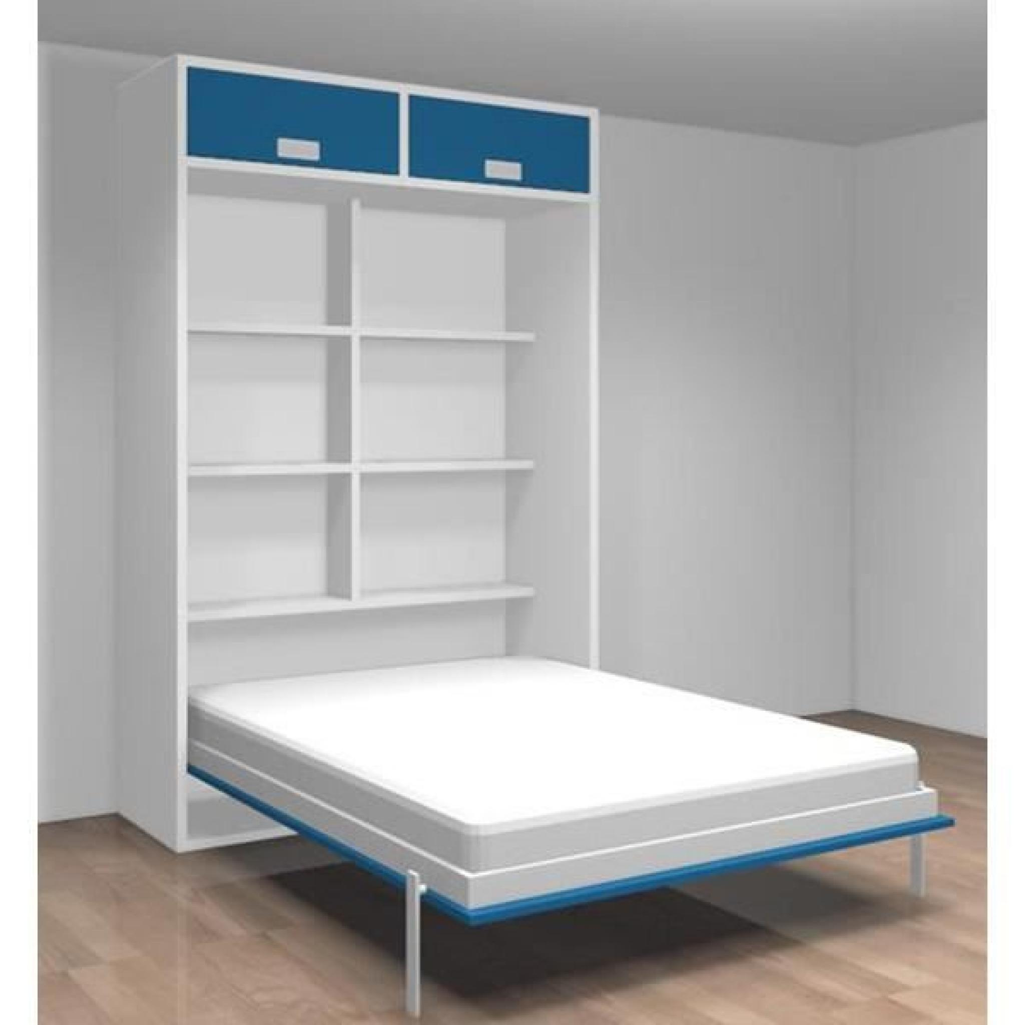 lit relevable avec tag res teo 140x190 blanc bleu achat vente lit escamotable pas cher. Black Bedroom Furniture Sets. Home Design Ideas