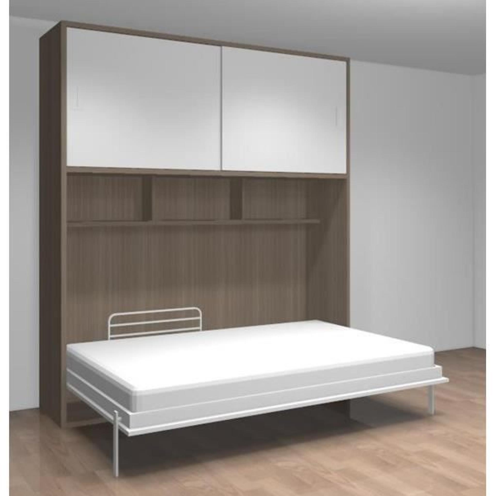 lit relevable étagères dressing teo 140x190 gris - achat/vente lit