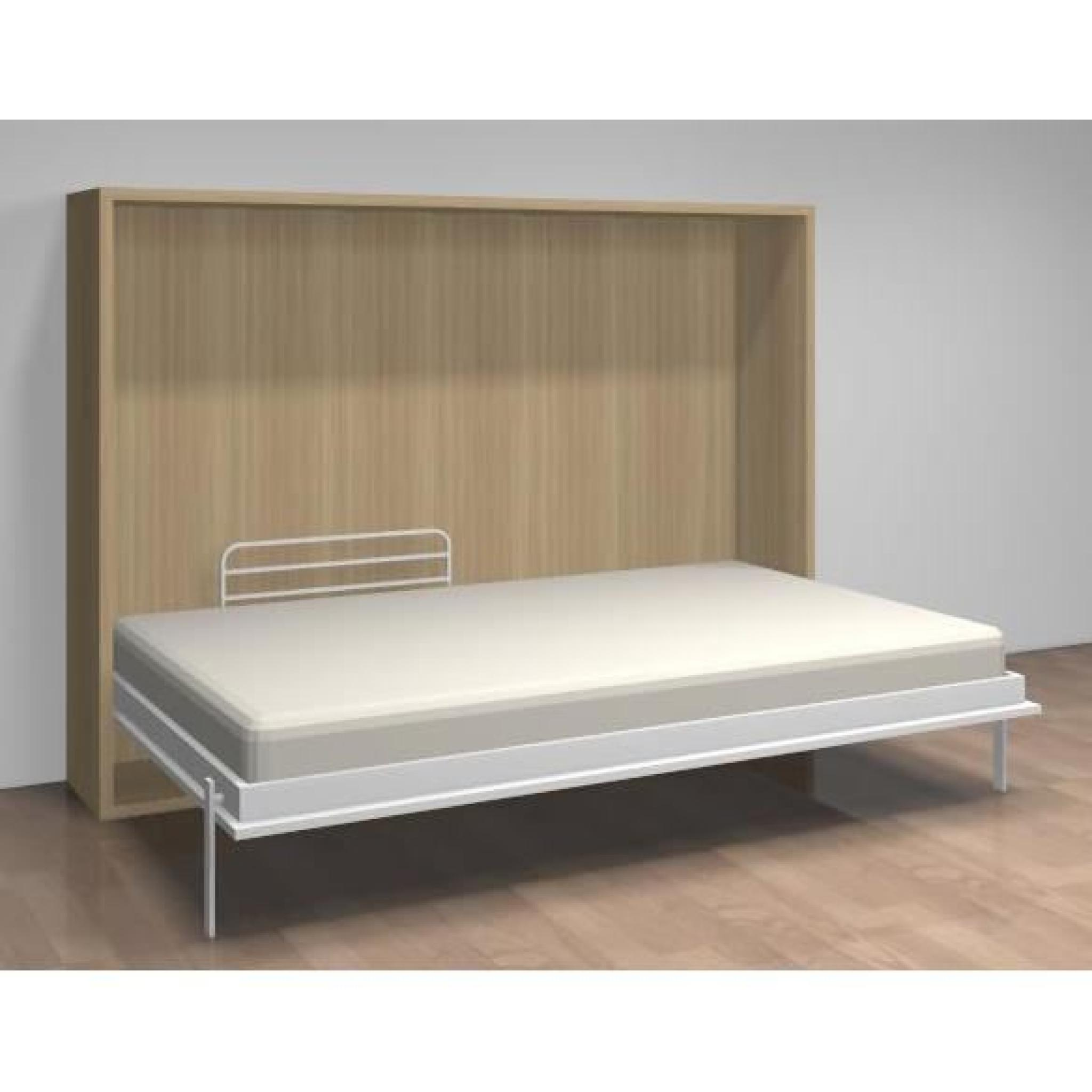 lit relevable horizontal teo 140x190 blanc ch ne achat vente lit escamotable pas cher. Black Bedroom Furniture Sets. Home Design Ideas