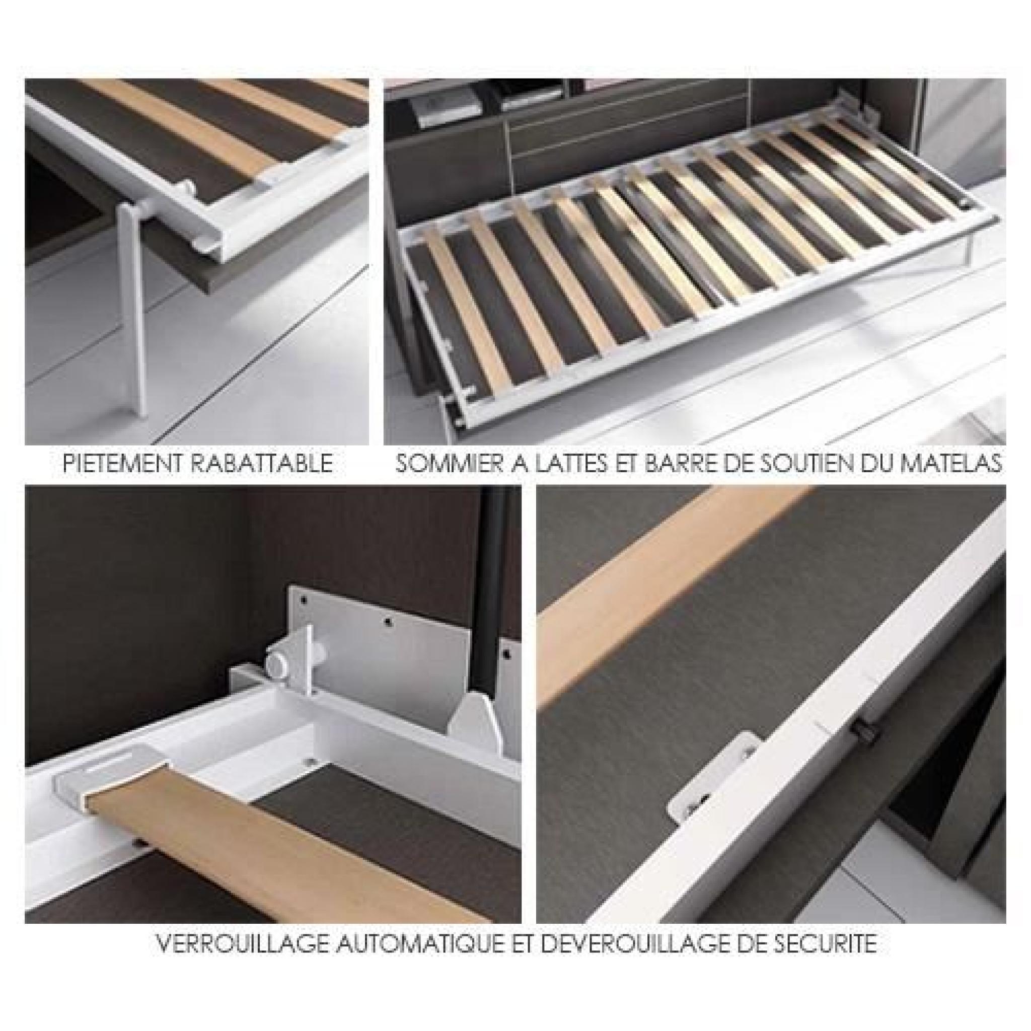 lit relevable vertical teo 140x190 blanc mat achat vente lit escamotable pas cher couleur et. Black Bedroom Furniture Sets. Home Design Ideas