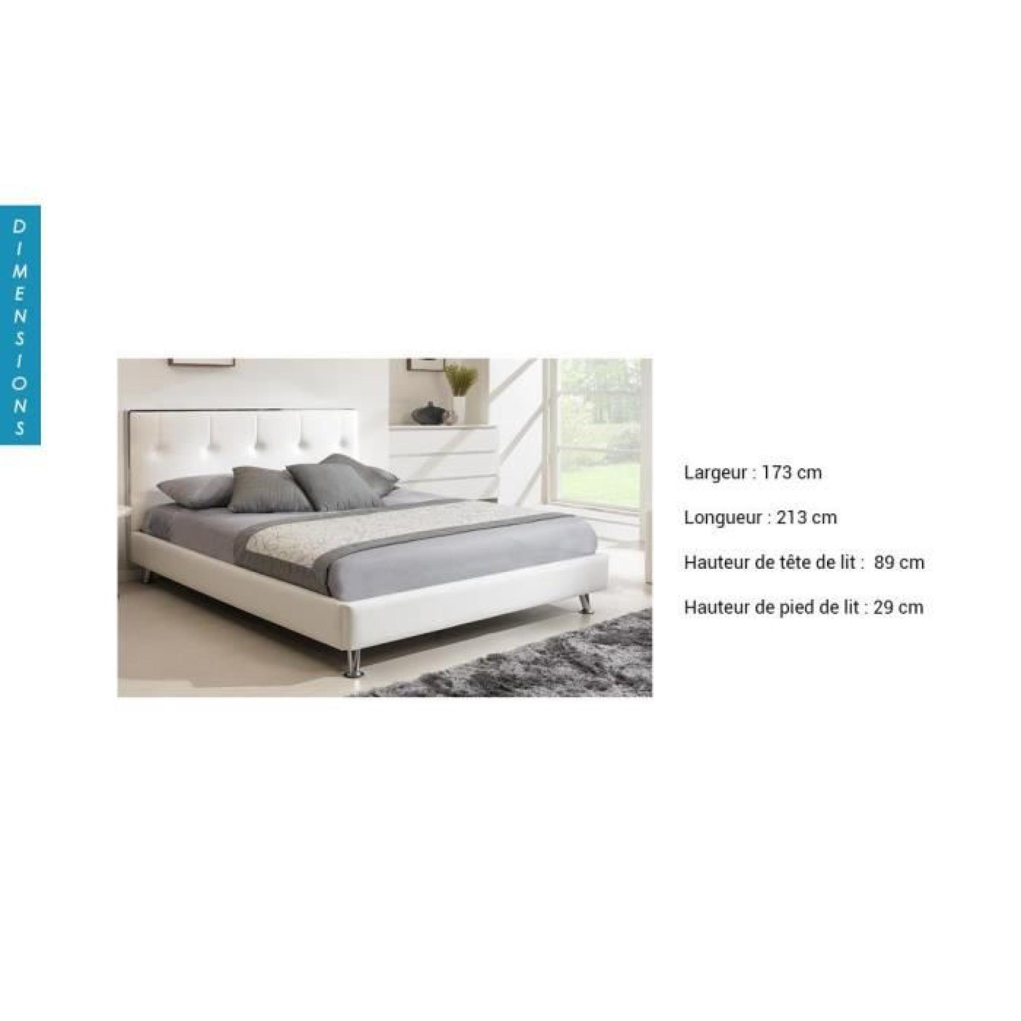 lit sabrina blanc coloris blanc dimensions 140 x 190 cm option chevets lit 2 chevets. Black Bedroom Furniture Sets. Home Design Ideas