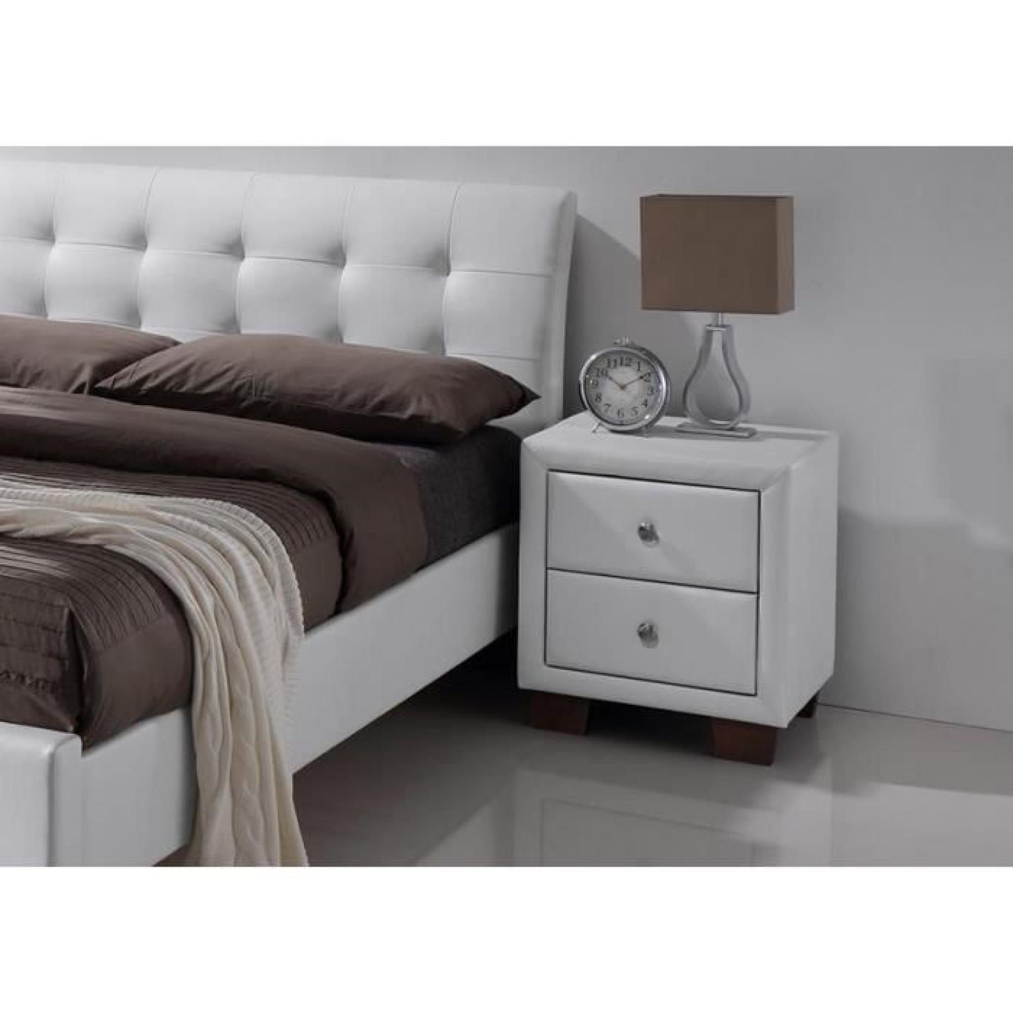 lit simili blanc avec t te de lit samara 140 x 190 achat vente lit pas cher couleur et. Black Bedroom Furniture Sets. Home Design Ideas