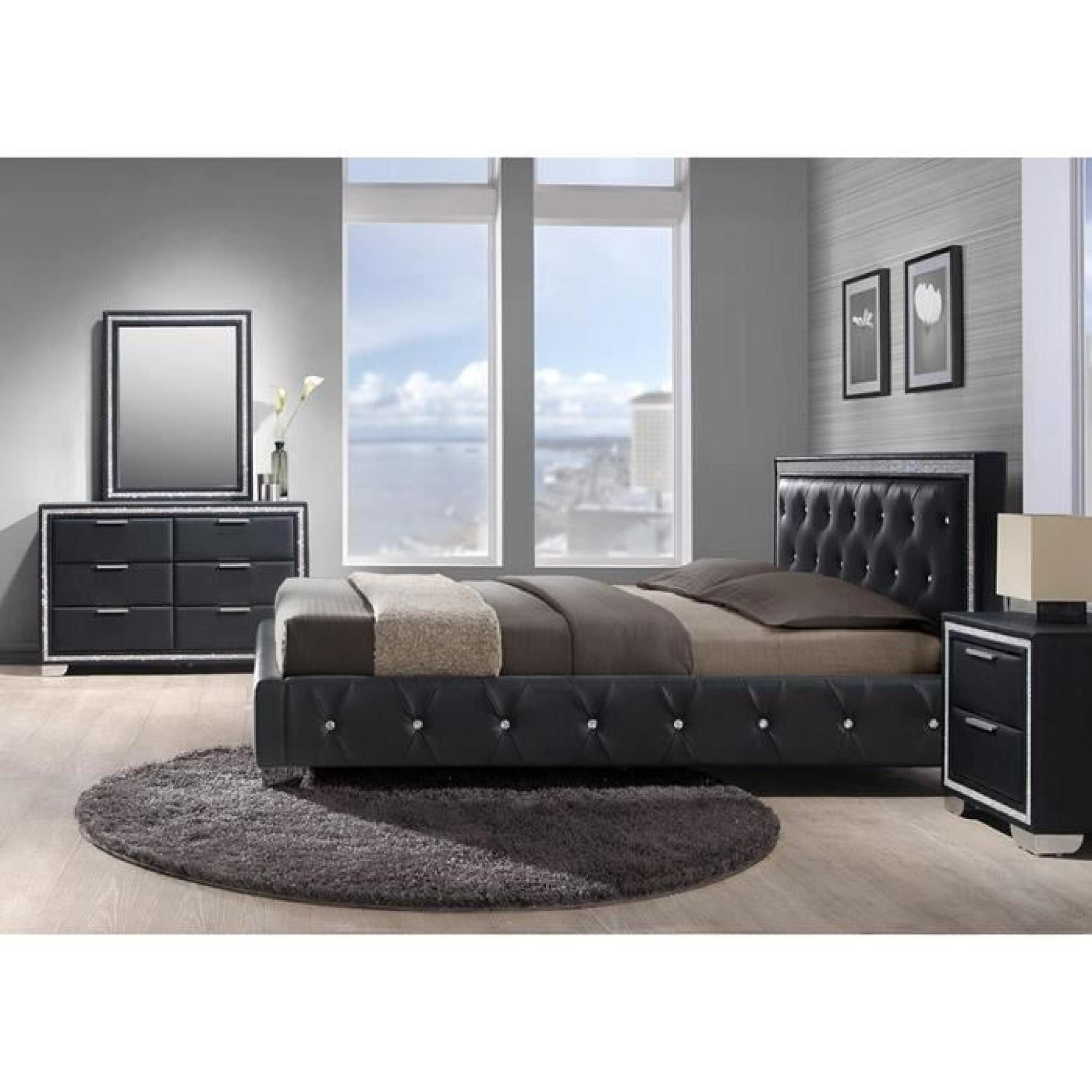 lit simili noir et strass avec t te de lit cladis 140 x 190 achat vente lit pas cher couleur. Black Bedroom Furniture Sets. Home Design Ideas
