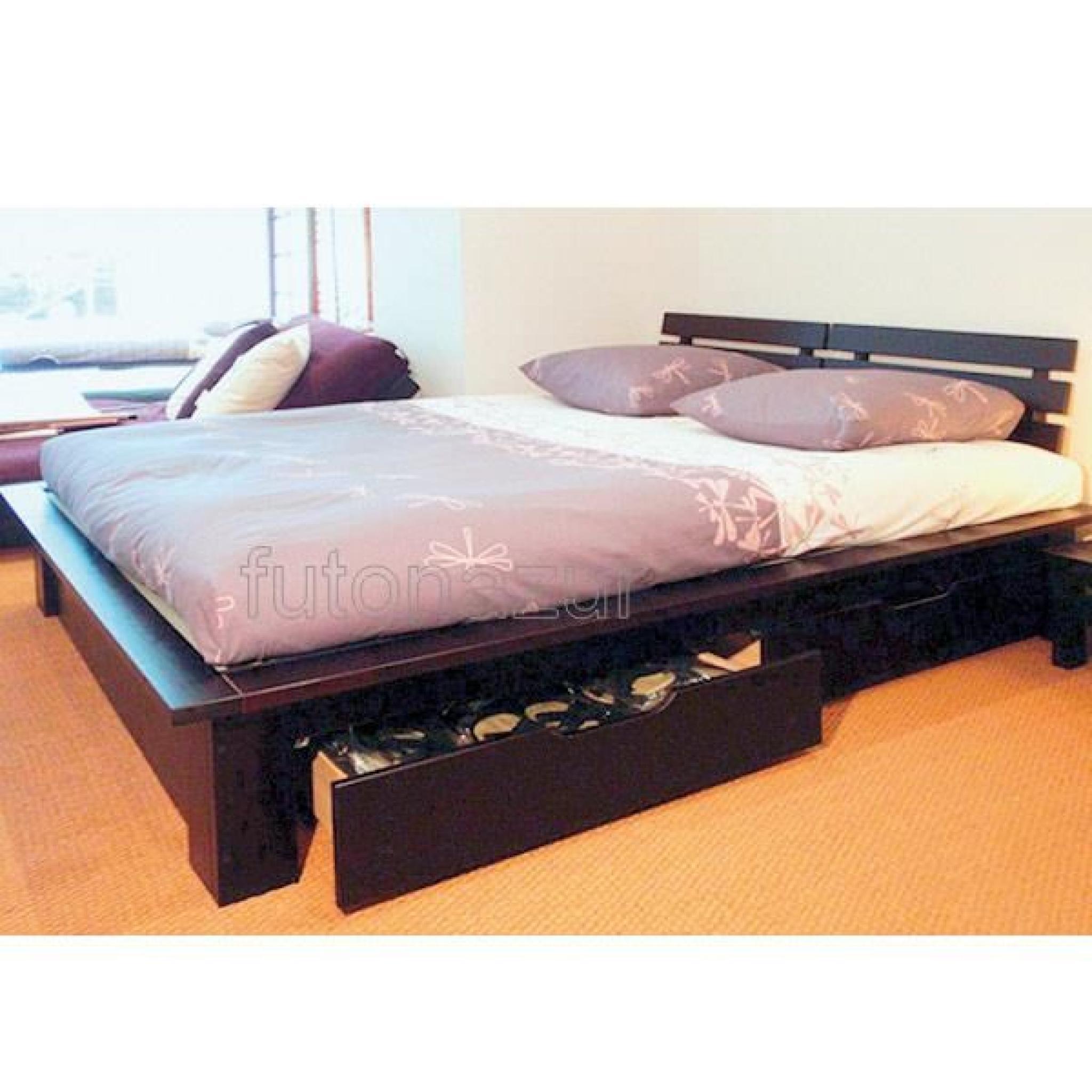 lit conptemporain avec rangement et matelas futon achat vente lit pas cher couleur et. Black Bedroom Furniture Sets. Home Design Ideas