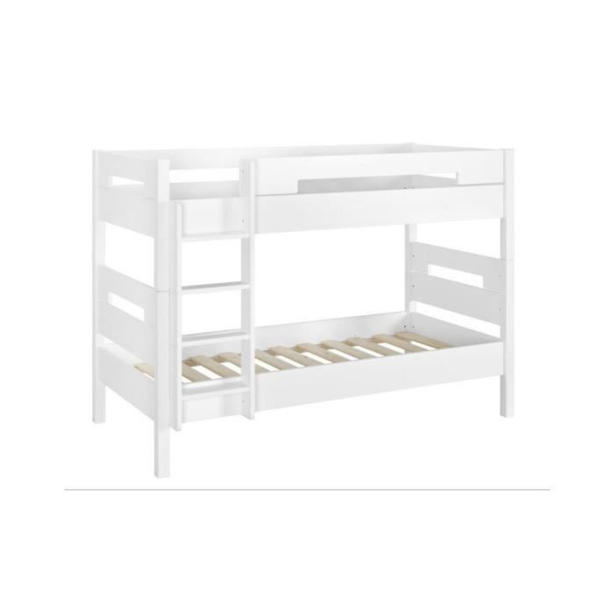 lit superpos 90x190 victoria blanc achat vente lit superpose pas cher couleur et. Black Bedroom Furniture Sets. Home Design Ideas