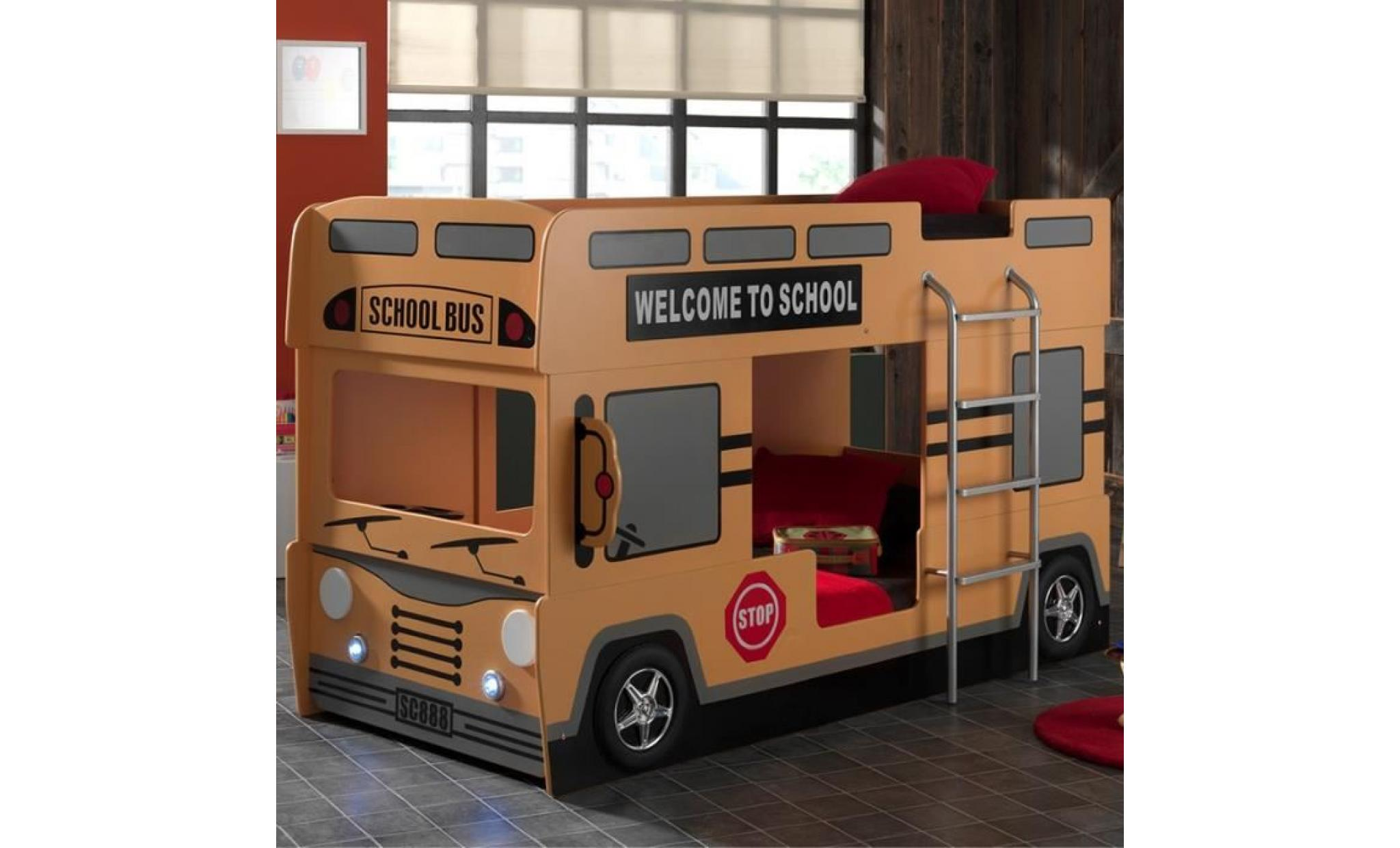 lit superpos bus school l 215 x l 100 x h 132 cm achat vente lit superpose pas cher. Black Bedroom Furniture Sets. Home Design Ideas