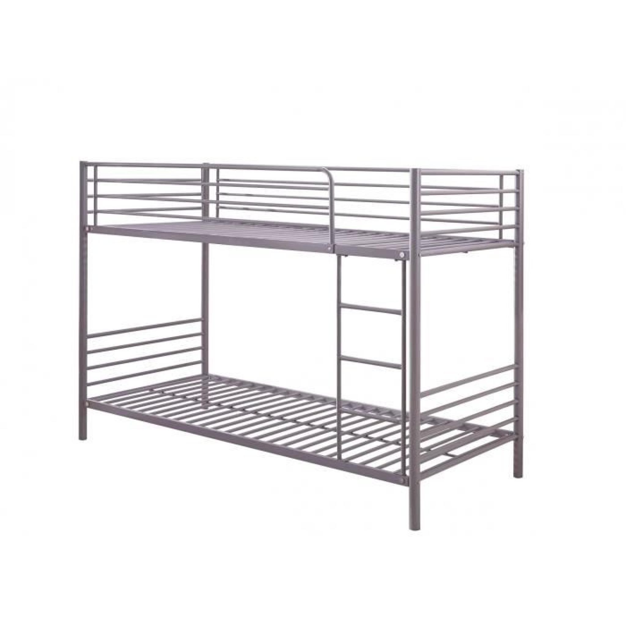 lit superpos en m tal gris 90 x 200 cm sommiers achat. Black Bedroom Furniture Sets. Home Design Ideas