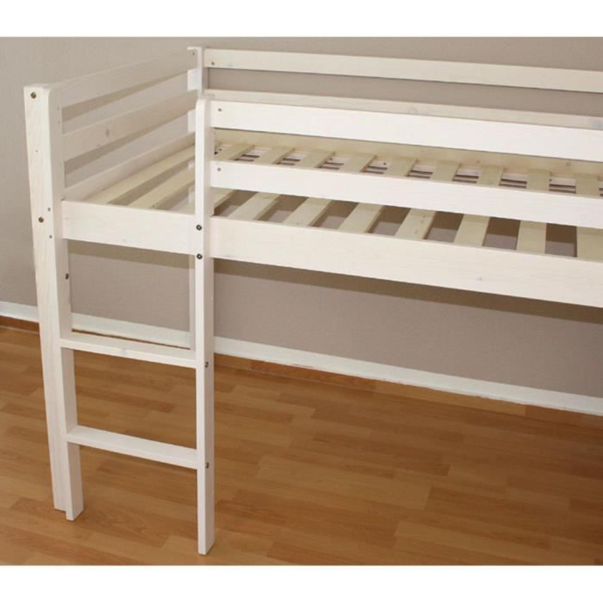 lit superpos enfant en pin massif blanc avec toboggan. Black Bedroom Furniture Sets. Home Design Ideas