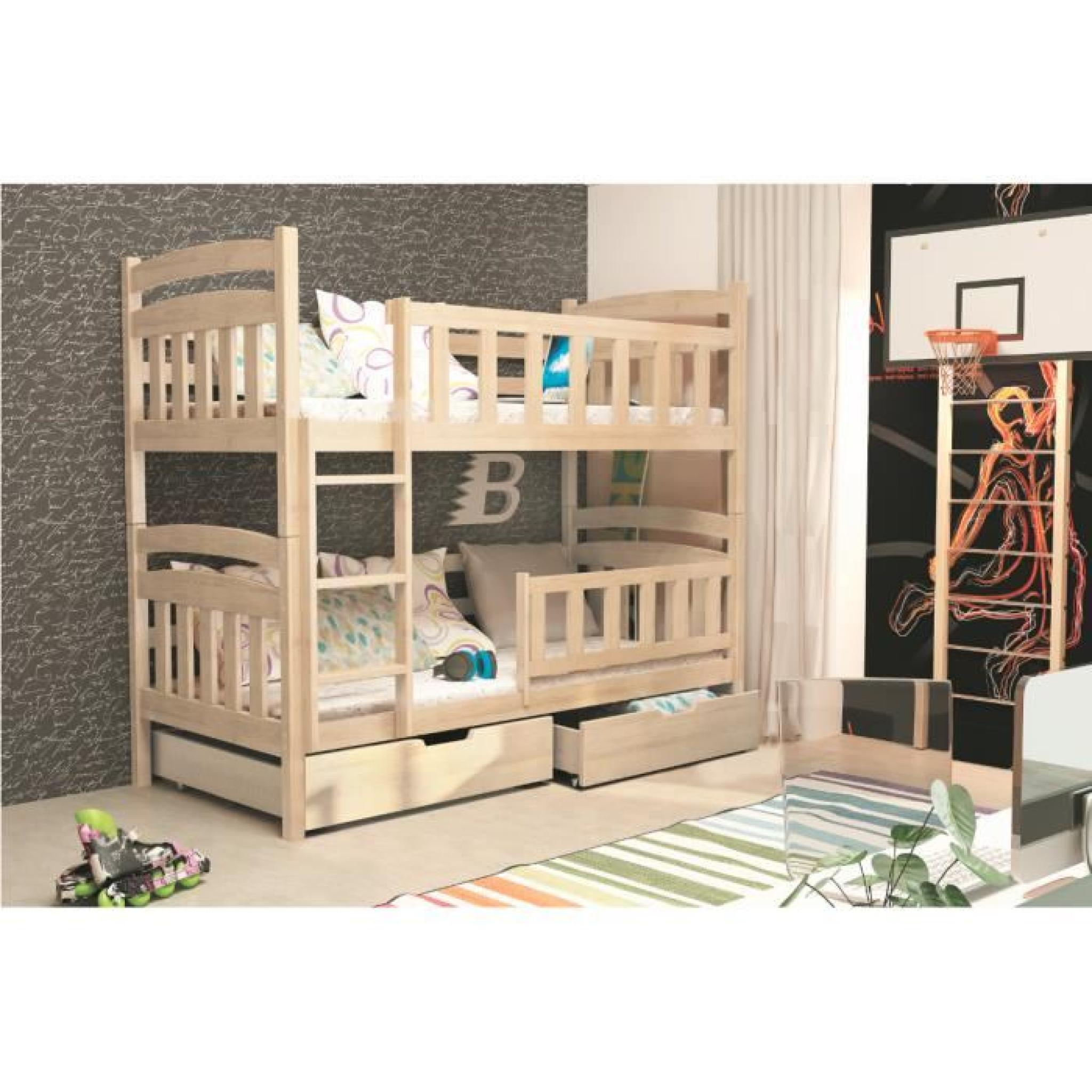 lit superpos enfant kacper 2 pin naturel 185x80 achat. Black Bedroom Furniture Sets. Home Design Ideas