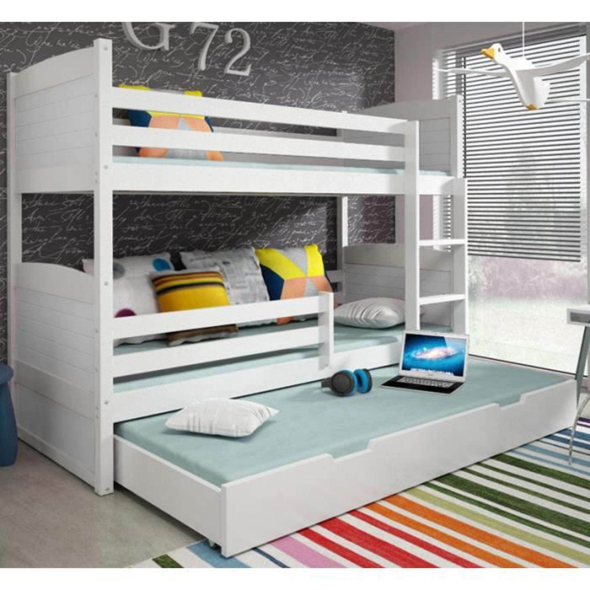 lit superpos rico 3 en pin 160x80 blanc achat vente lit superpose pas cher couleur et. Black Bedroom Furniture Sets. Home Design Ideas