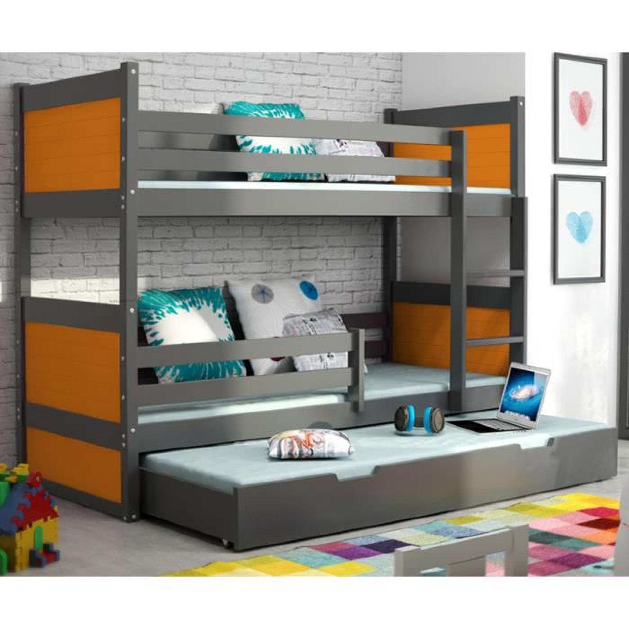 lit superpos rico 3 en pin 160x80 gris achat vente lit superpose pas cher couleur et. Black Bedroom Furniture Sets. Home Design Ideas