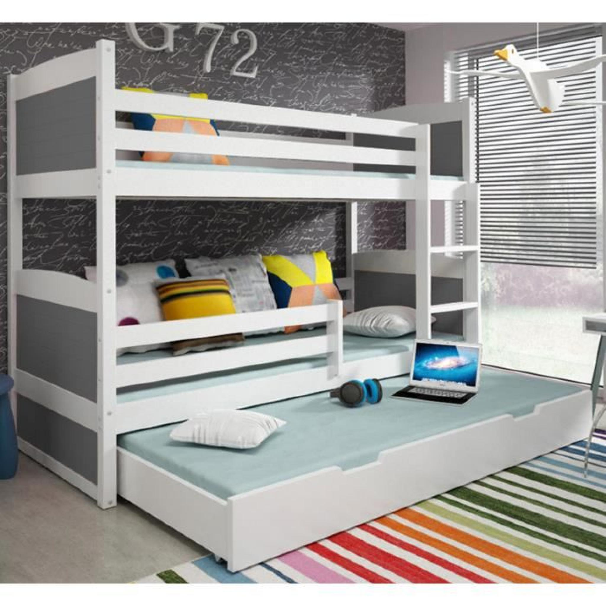 lit superpos rico 3 en pin 185x80 blanc achat vente. Black Bedroom Furniture Sets. Home Design Ideas