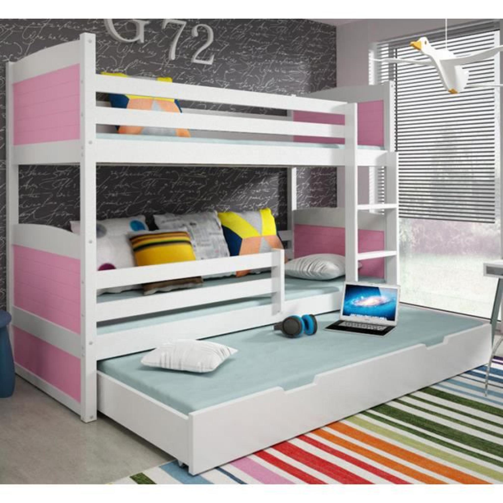 lit superpos rico 3 en pin 185x80 blanc achat vente lit superpose pas cher couleur et. Black Bedroom Furniture Sets. Home Design Ideas