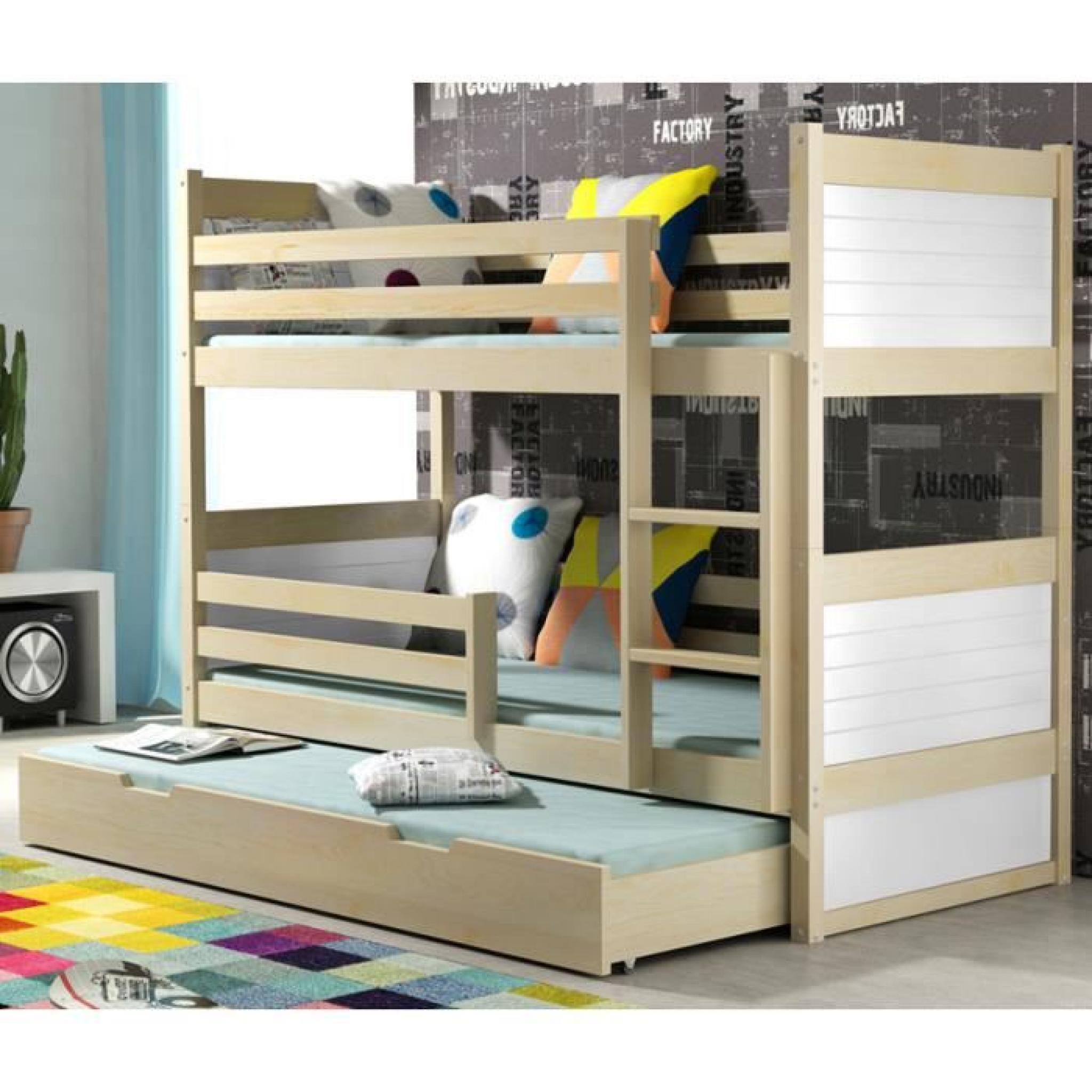 lit superpos rico 3 en pin 185x80 pin achat vente lit superpose pas cher couleur et. Black Bedroom Furniture Sets. Home Design Ideas